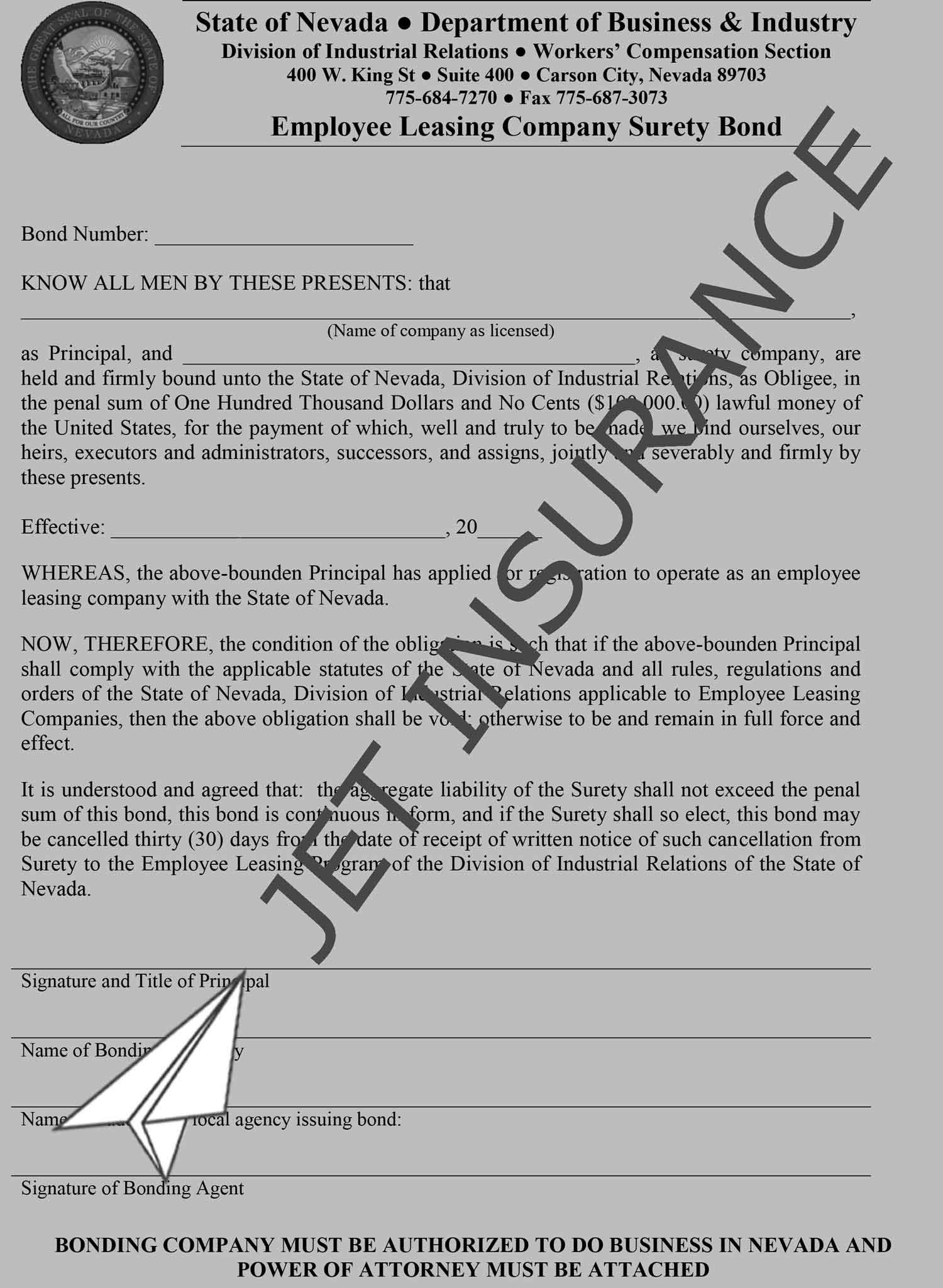 Nevada Employee Leasing Company Bond Form
