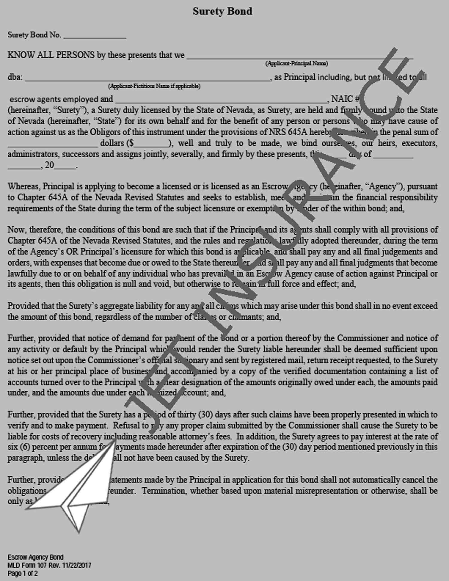 Nevada Escrow Agency Bond Form