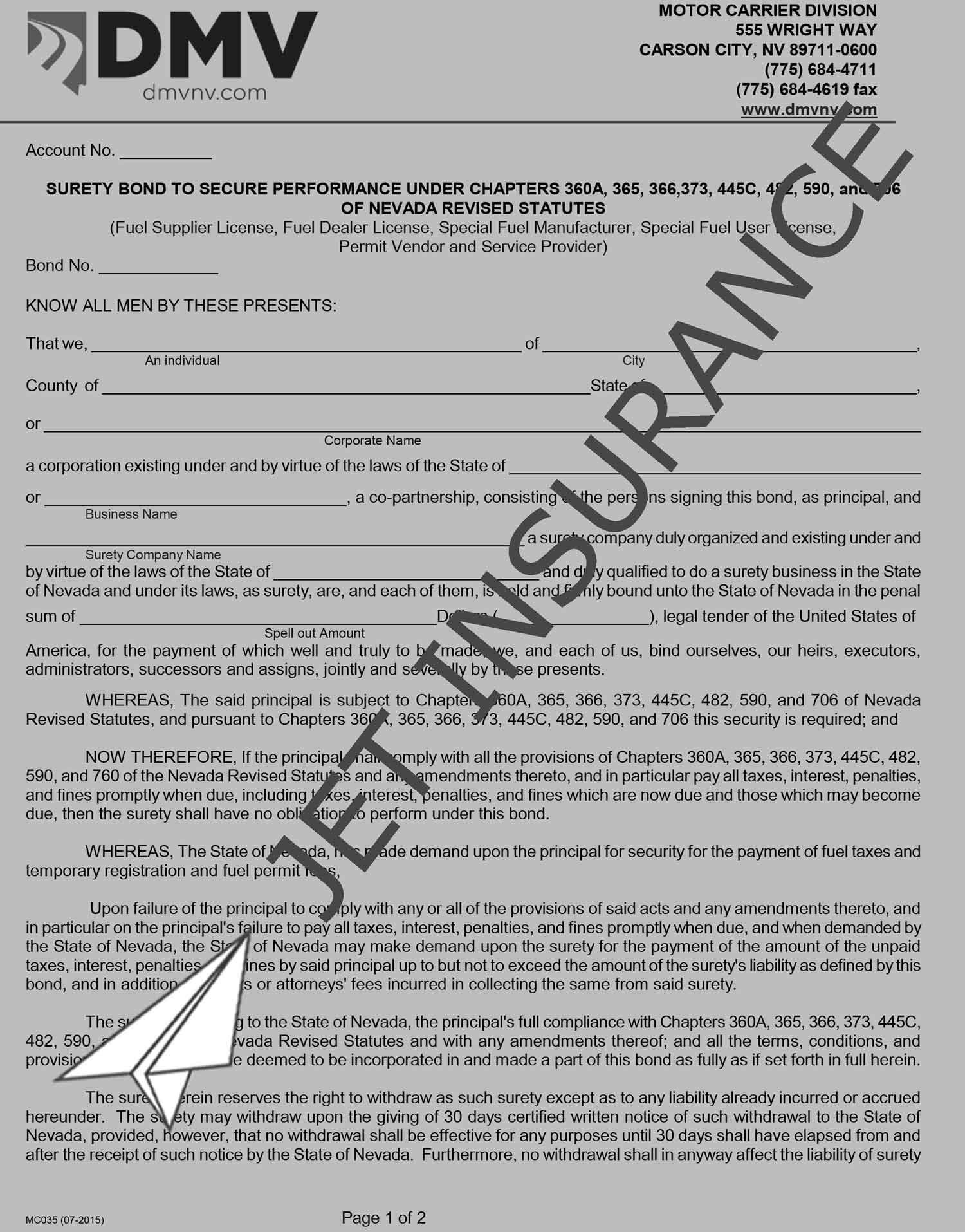 Nevada Fuel Tax Bond Form