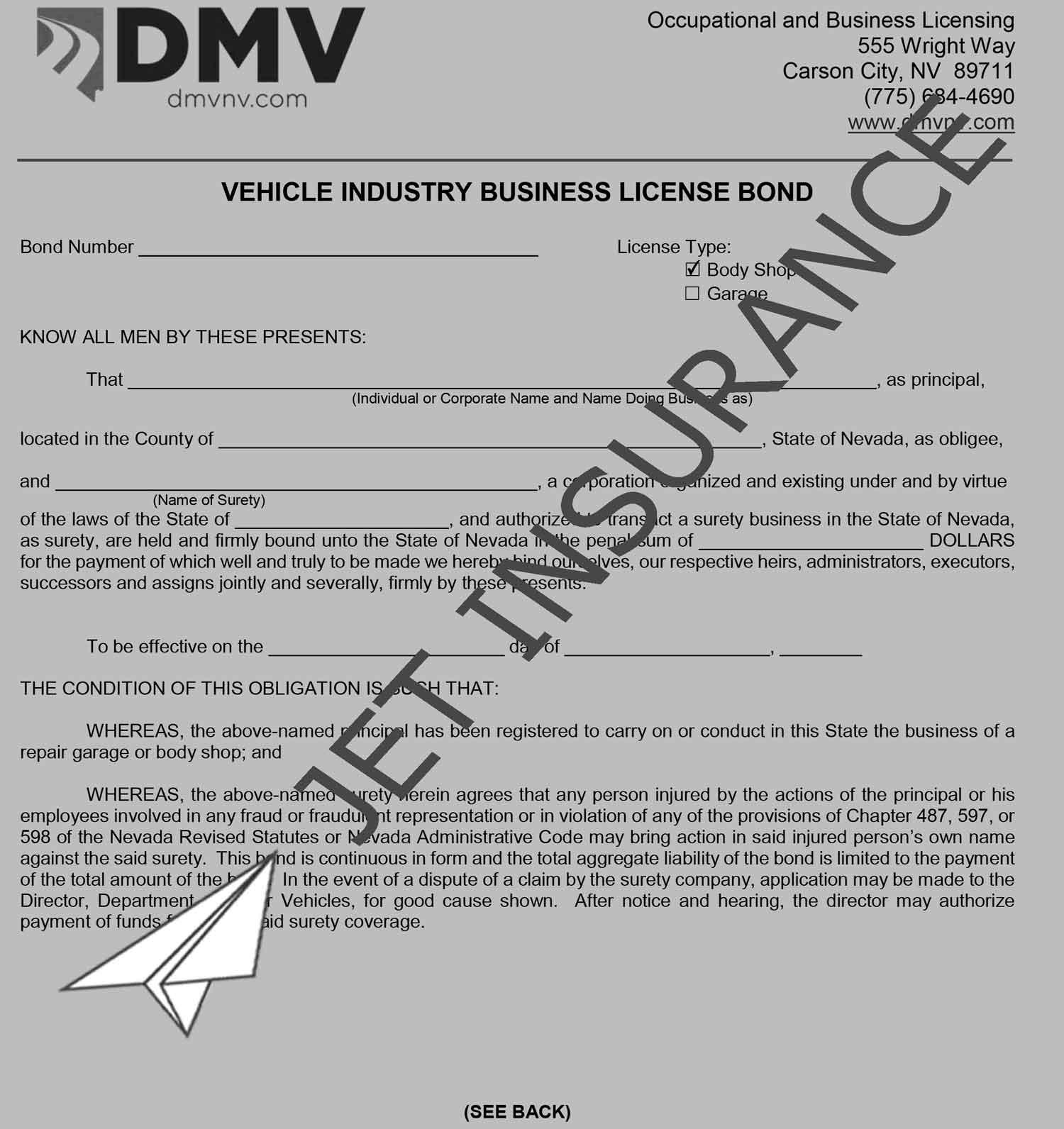 Nevada Body Shop and Garage Bond Form