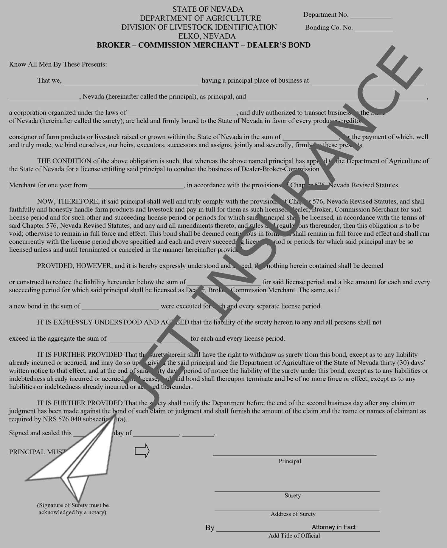 Nevada Livestock Dealer, Broker, and Commission Merchant Bond Form