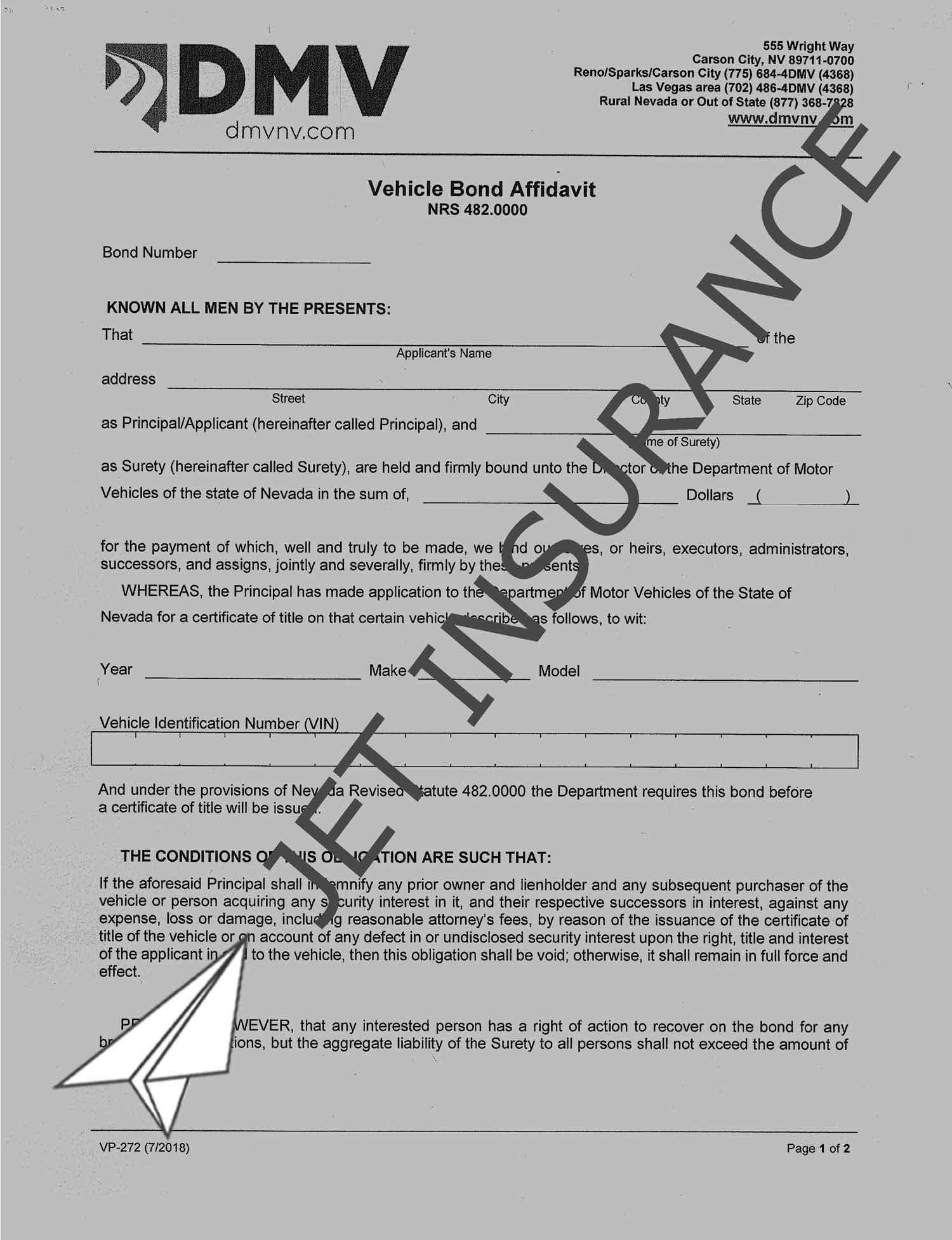Nevada Lost Title Bond Form