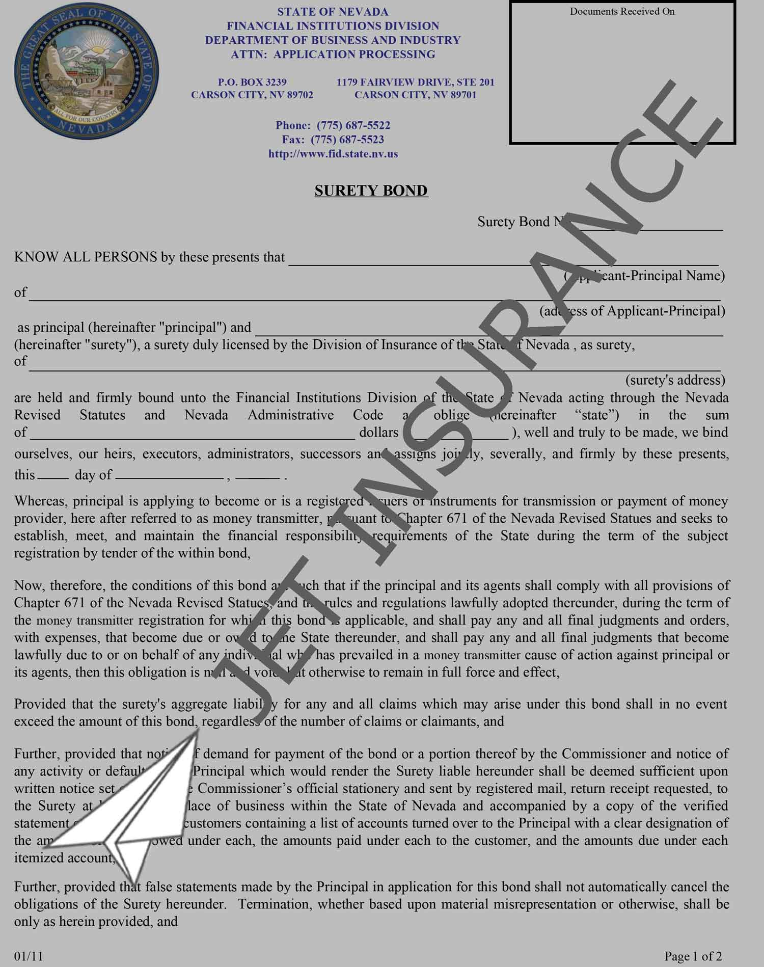 Nevada Money Transmitter License Bond Form