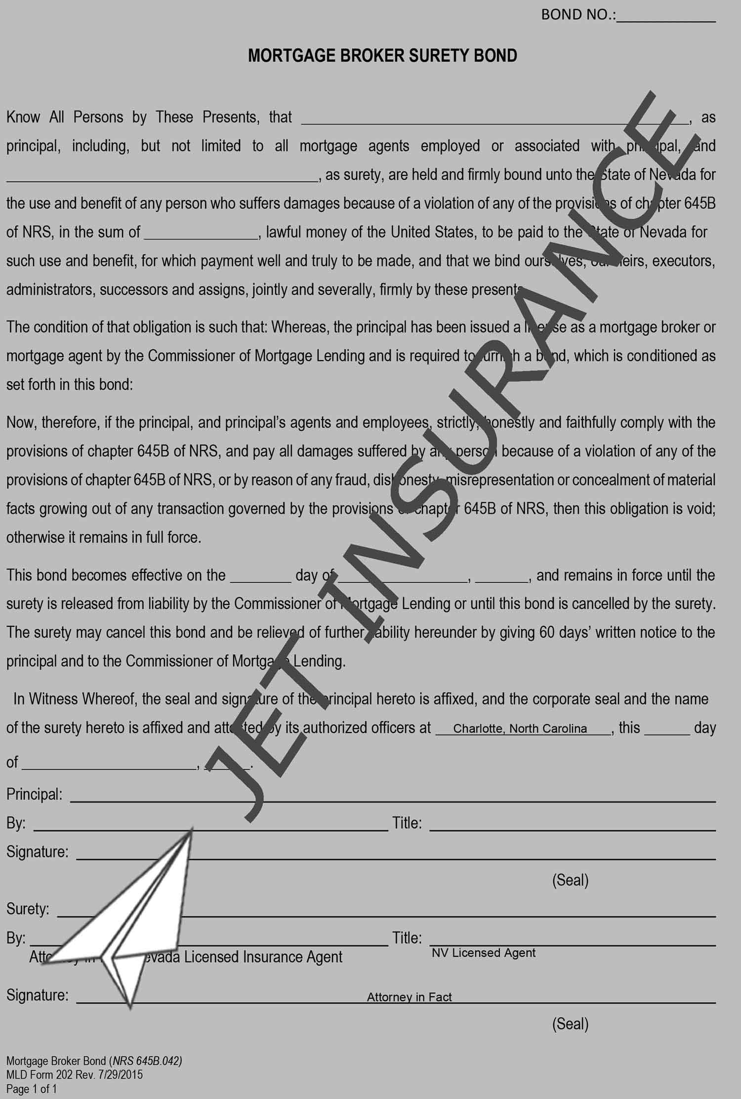 Nevada Mortgage Company License Bond Form