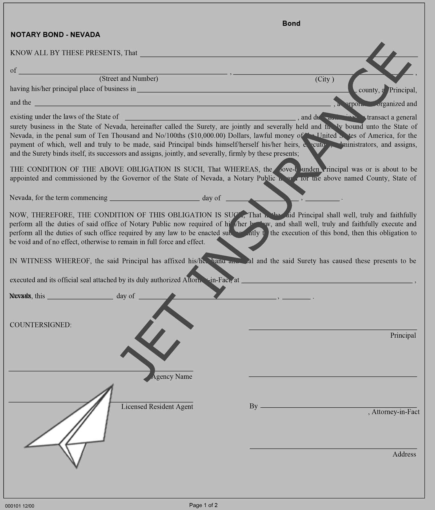 Nevada Notary Bond Form
