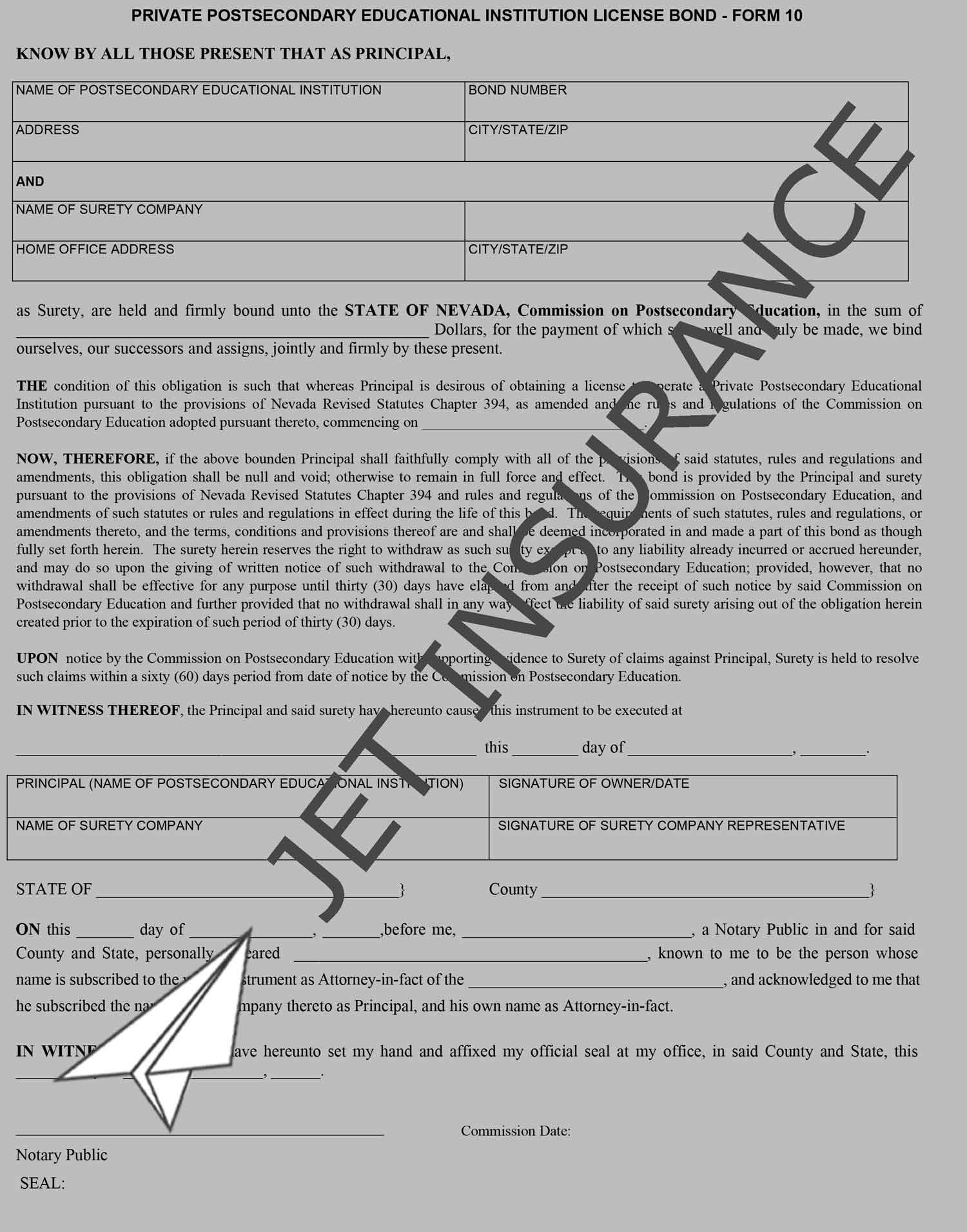 Nevada Private Postsecondary School Bond Form