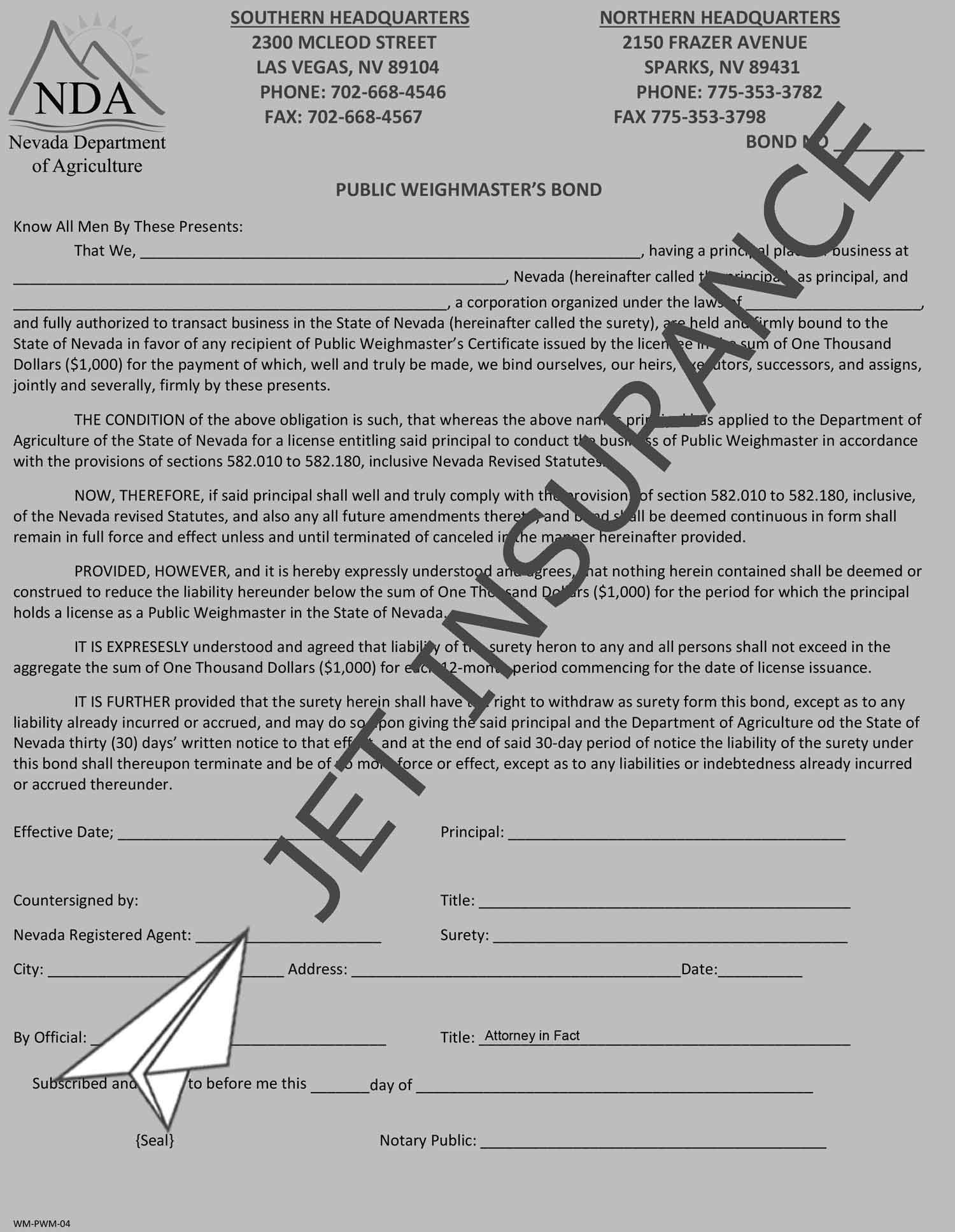 Nevada Public Weighmaster Bond Form