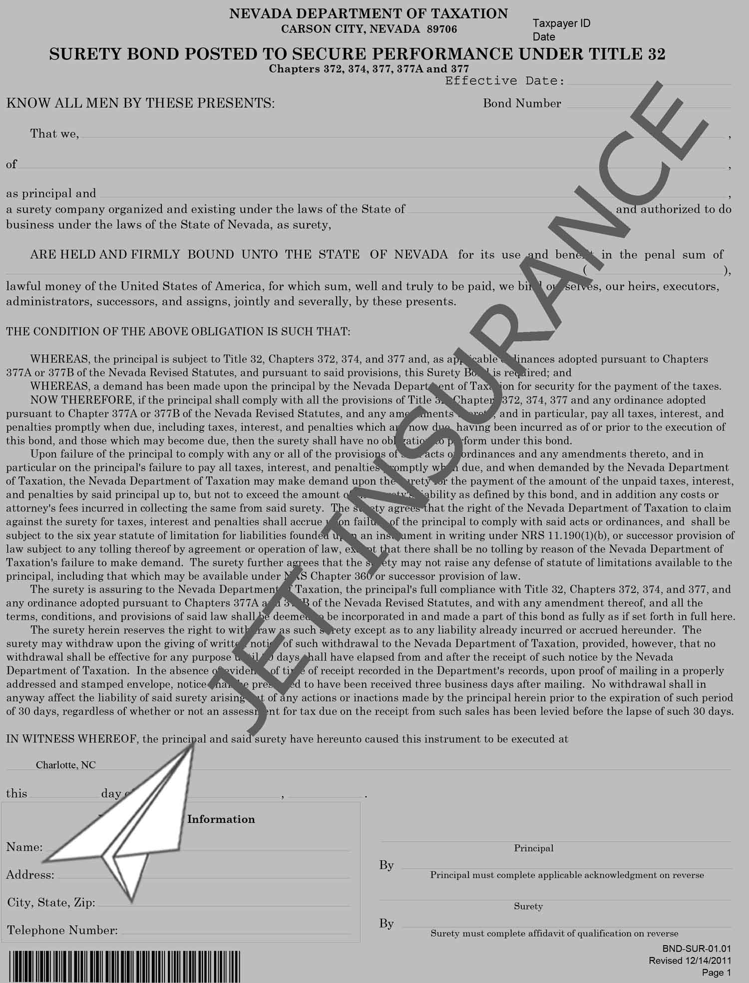 Nevada Sales and Use Tax Bond Form