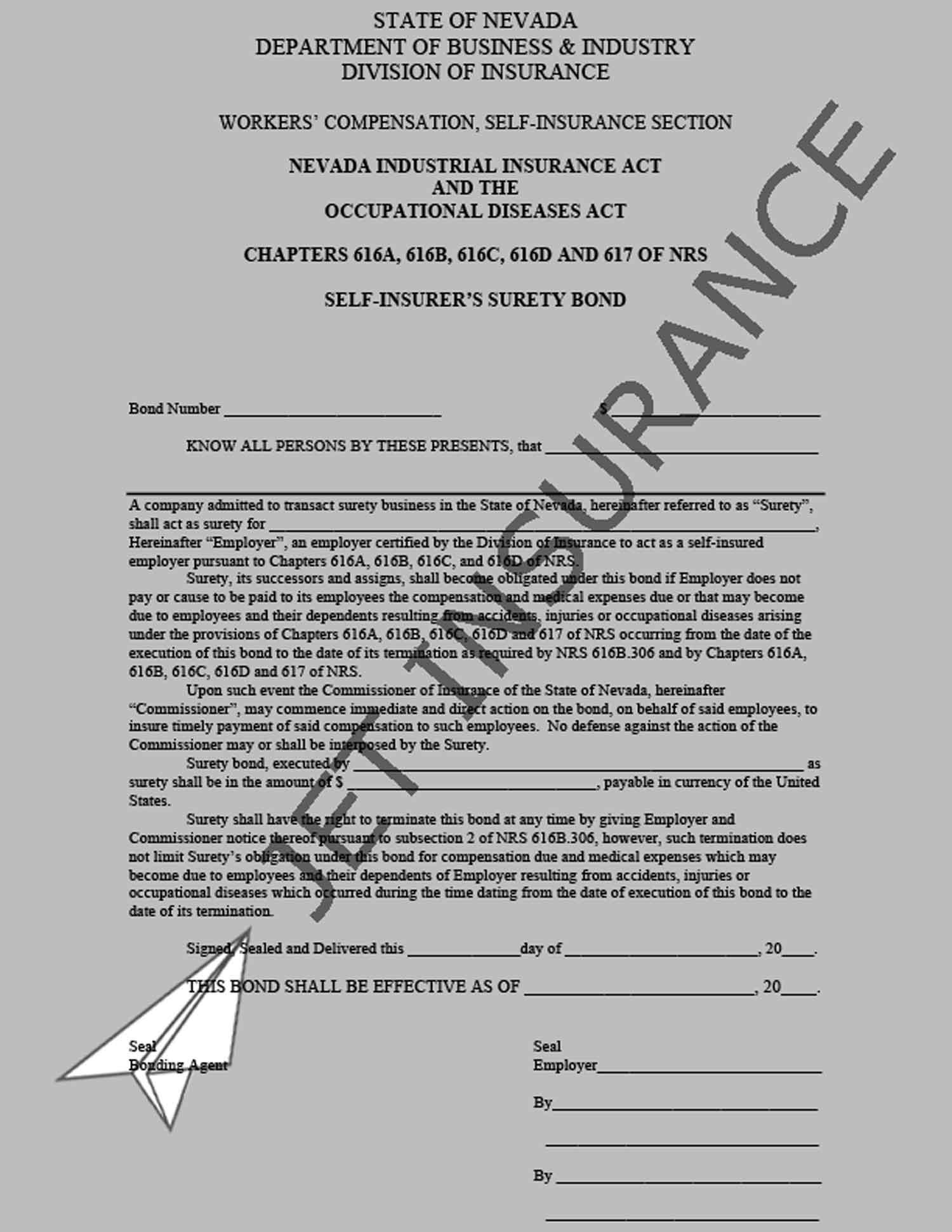 Nevada Self-Insured Employer Bond Form