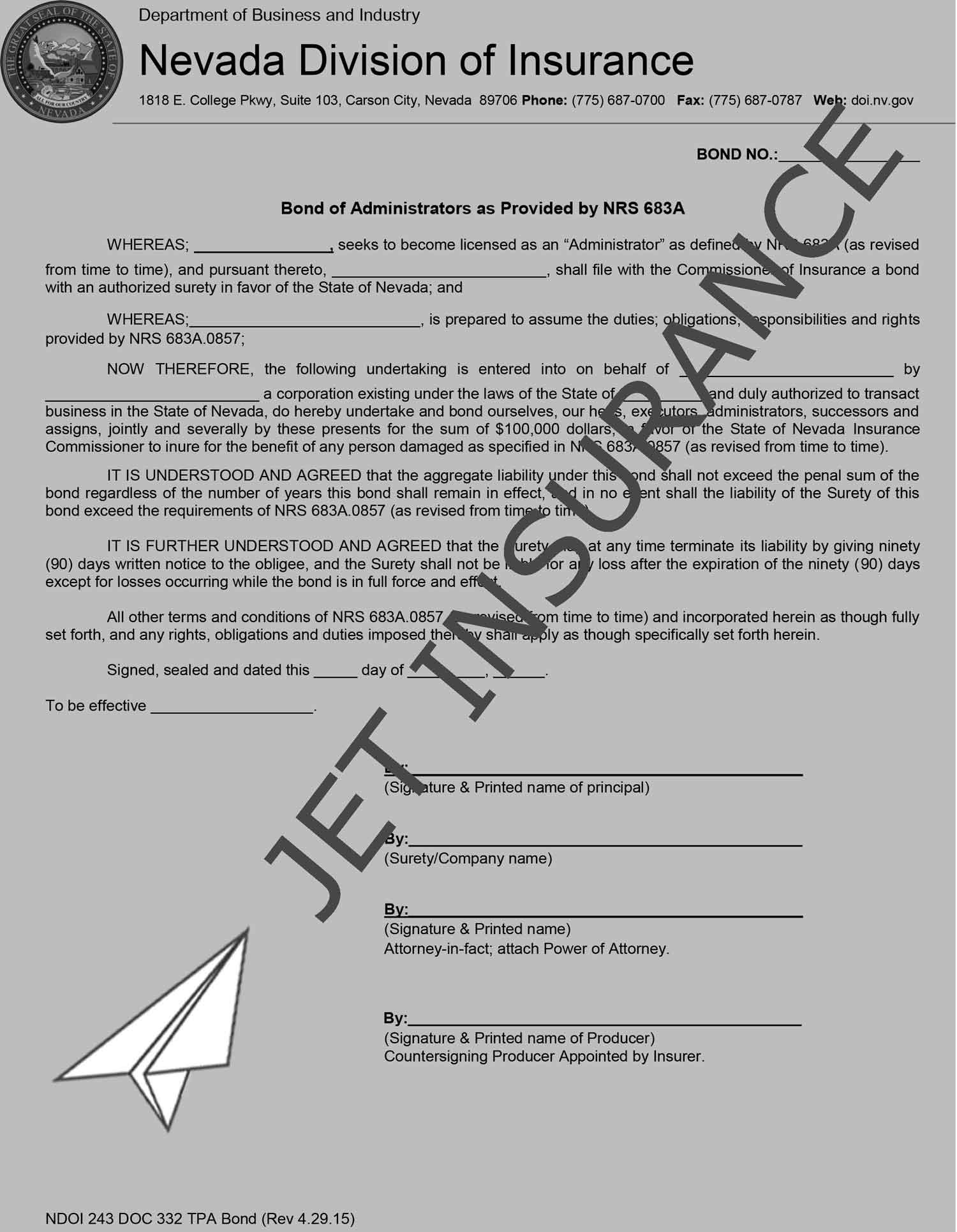 Nevada Third-Party Administrator Bond Form