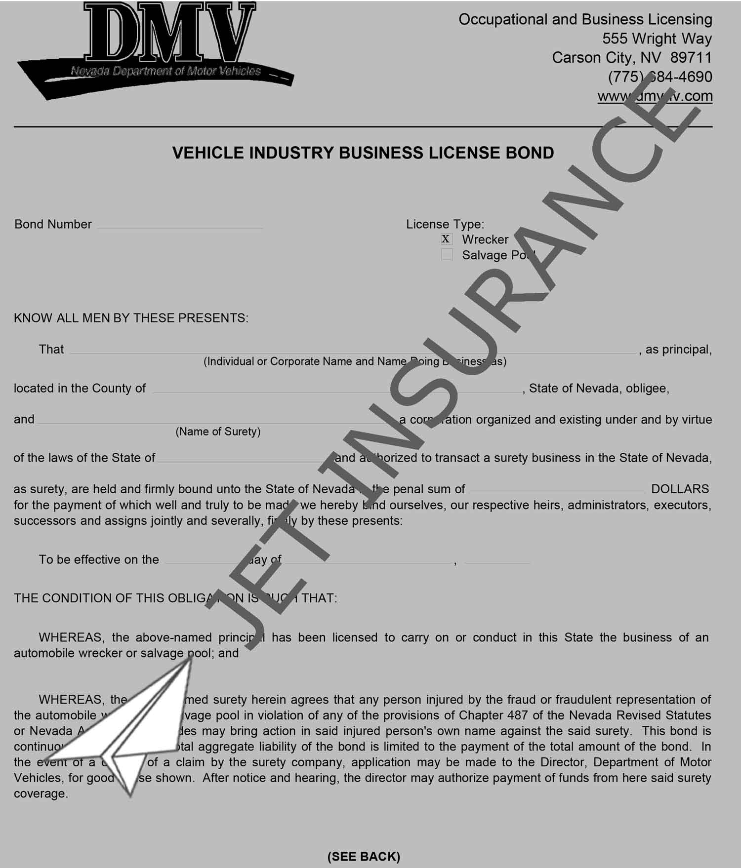 Nevada Motor Vehicle Wrecker and Salvage Pool Bond Form