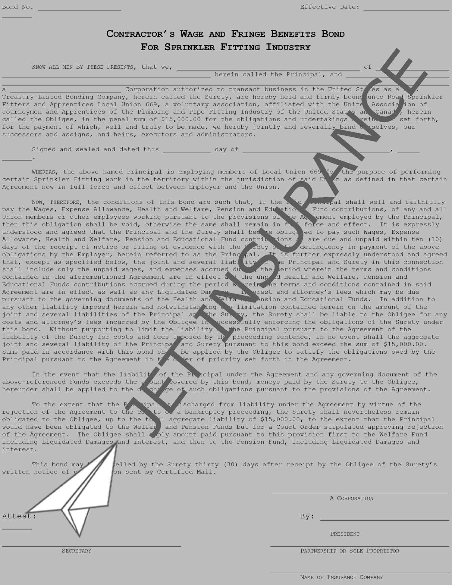 Sprinkler Fitters Local Union 669 Wage and Welfare Bond Form