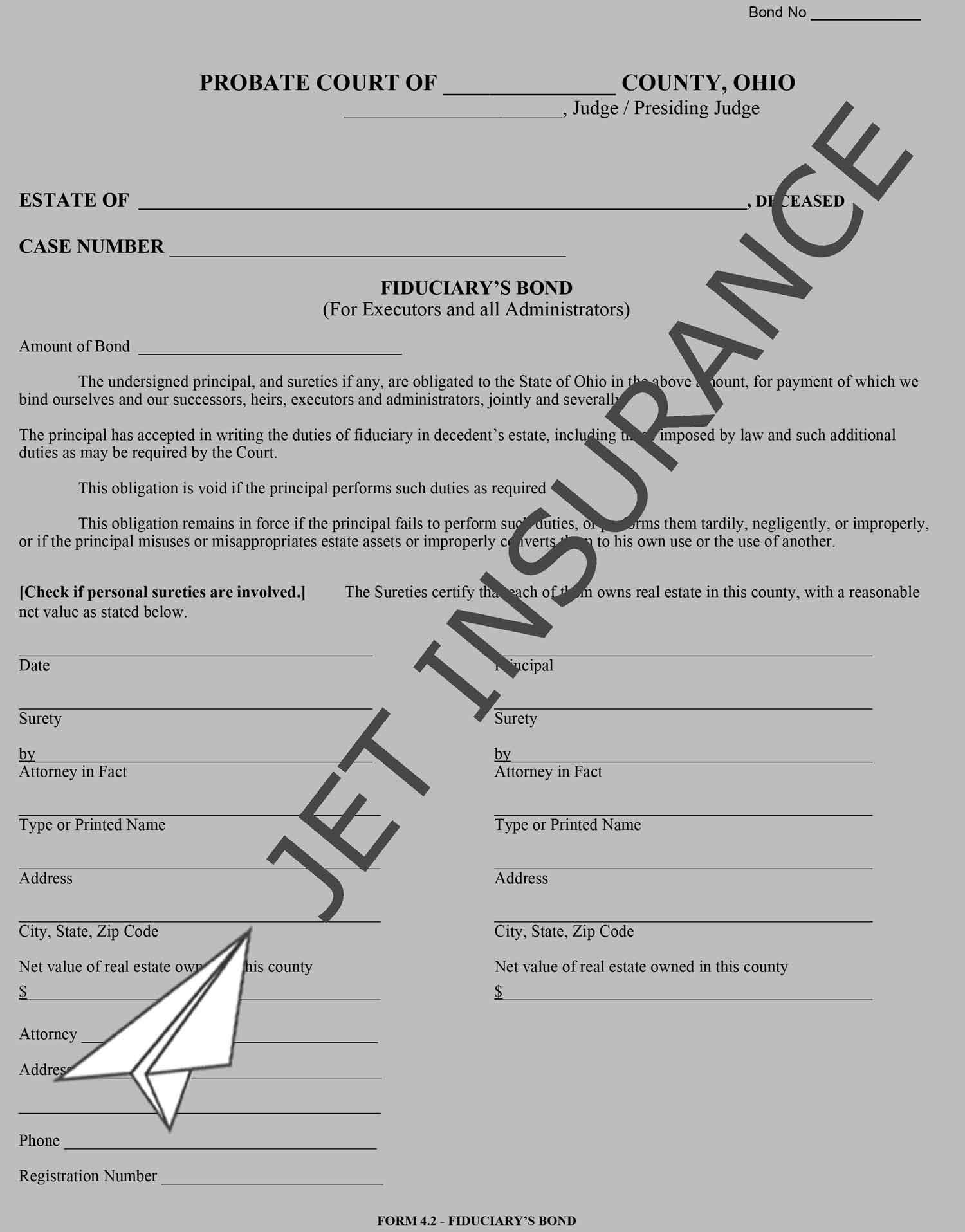 Ohio Administrator and Executor Bond Form