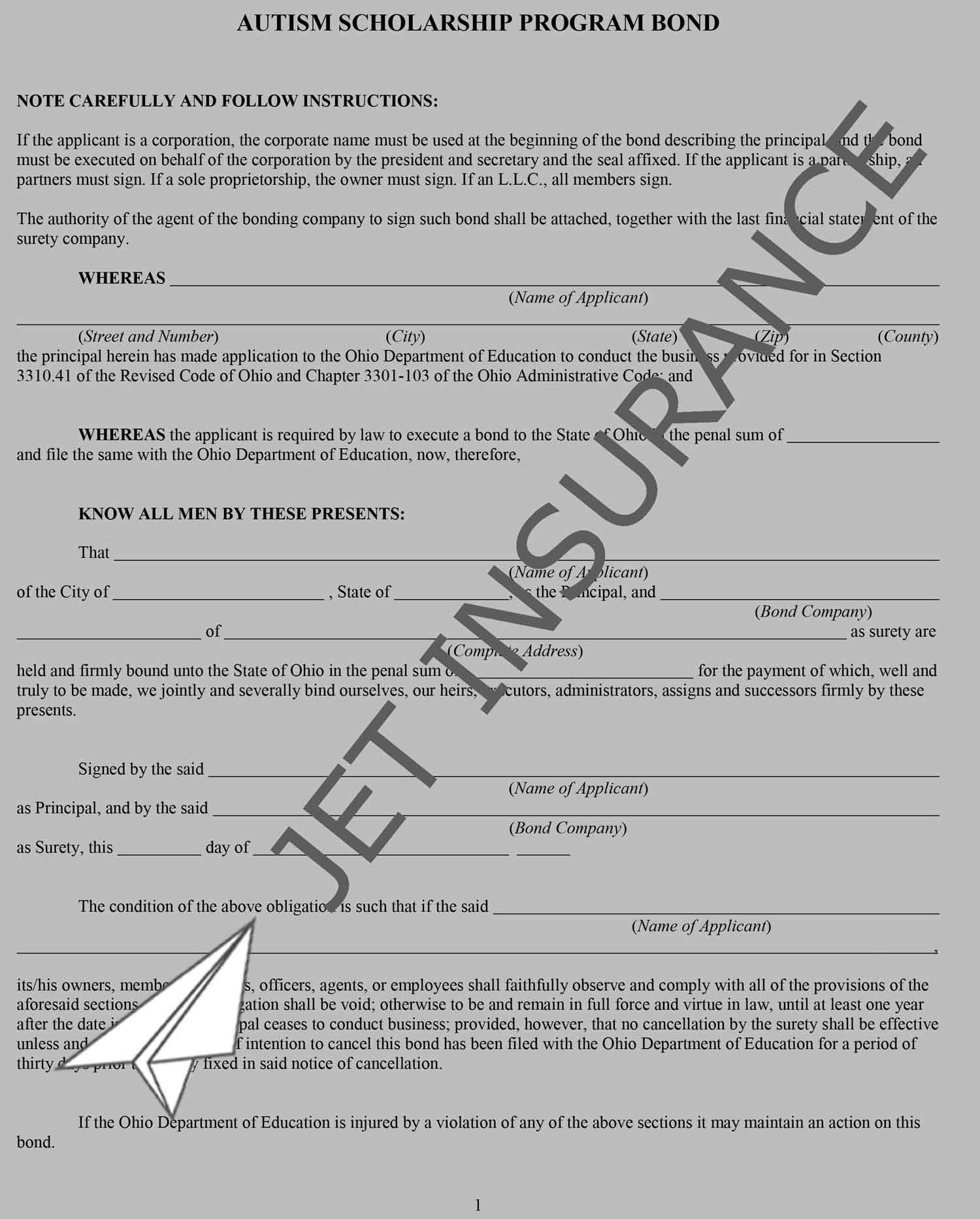 Ohio Autism Scholarship Program Bond Form