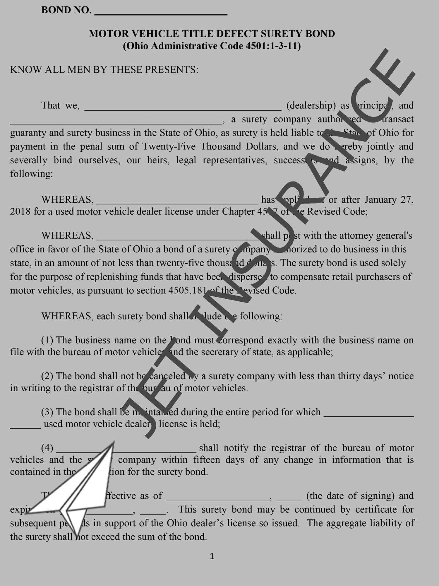 Ohio Auto Dealer Bond Form