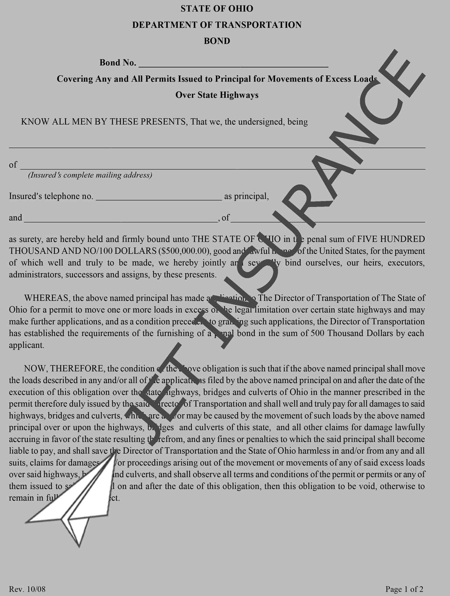 Ohio City of Medina Special Hauling Permit Bond Form