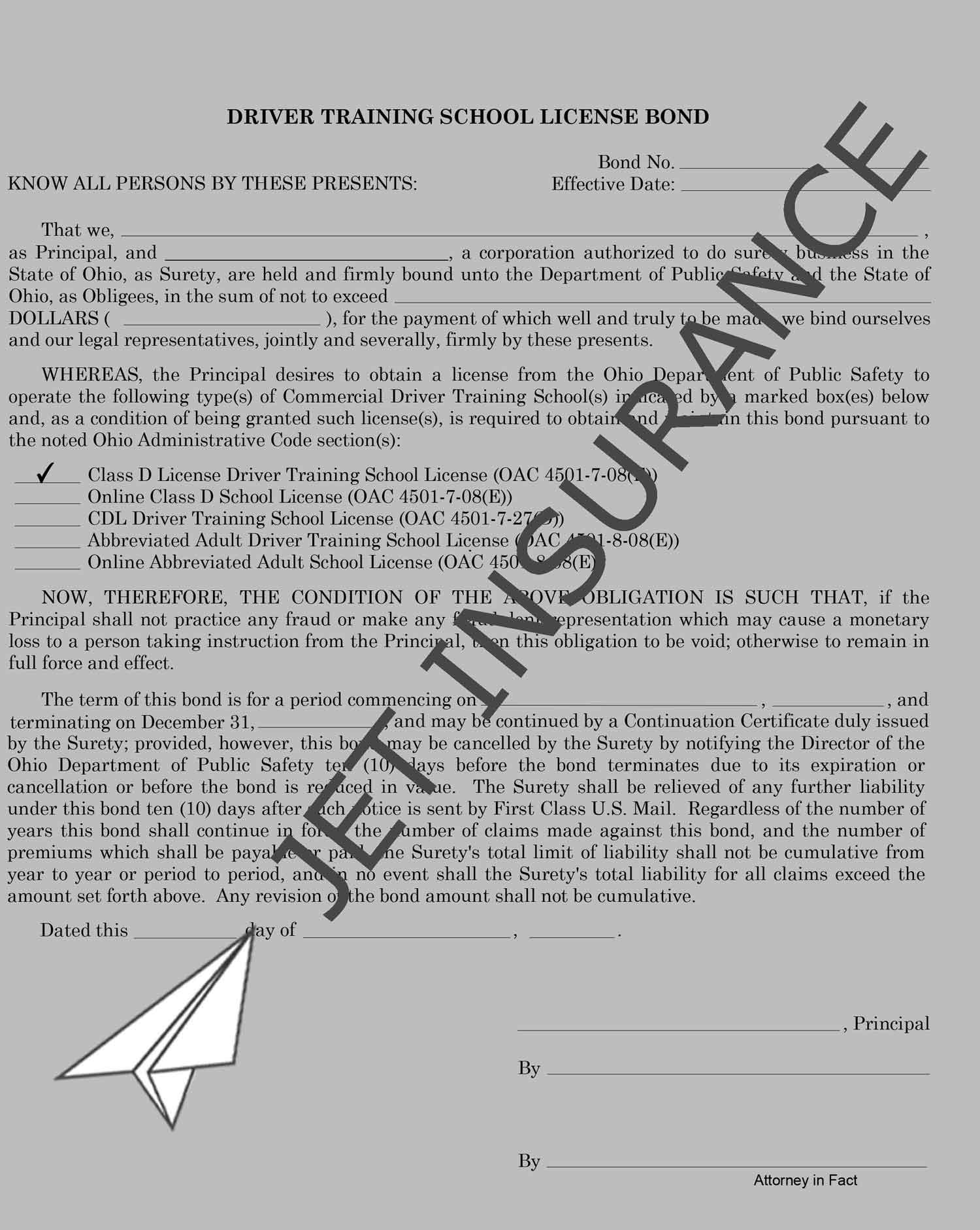 Ohio Driver Training and Testing License Bond Form