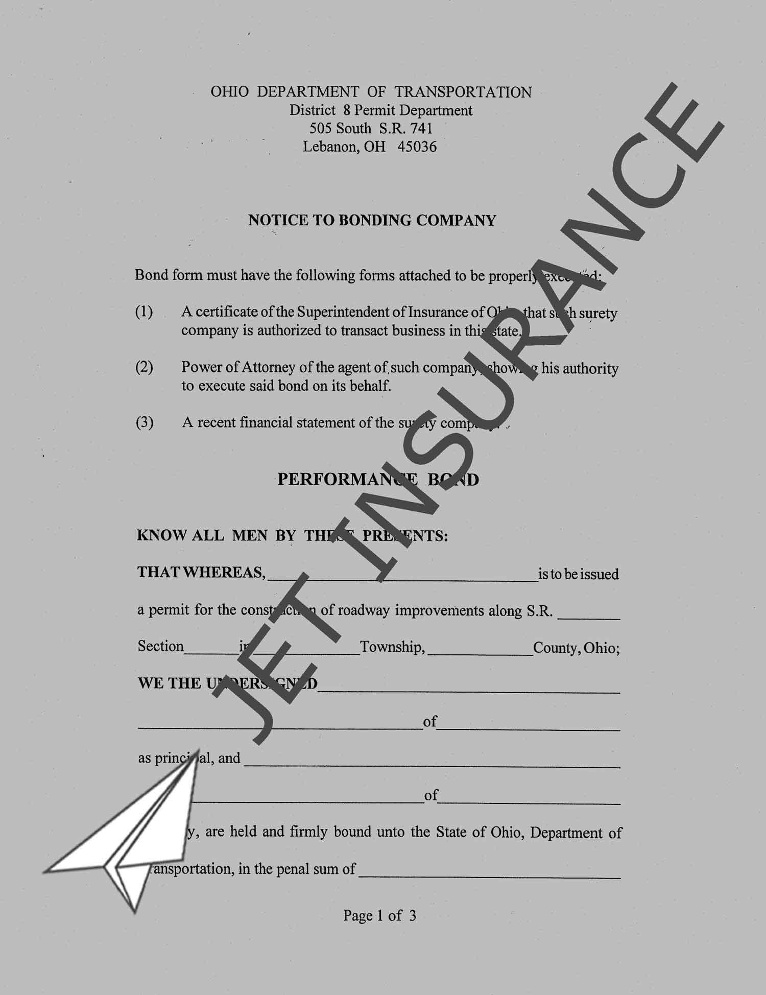 Ohio District 8 (Lebanon) Road Performance Permit Bond Form