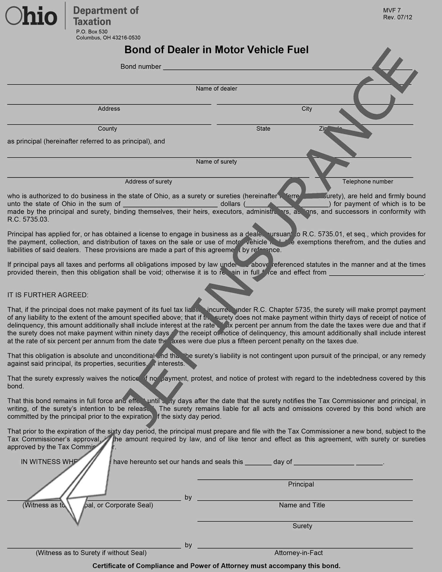 Ohio Motor Fuel Dealer Bond Form