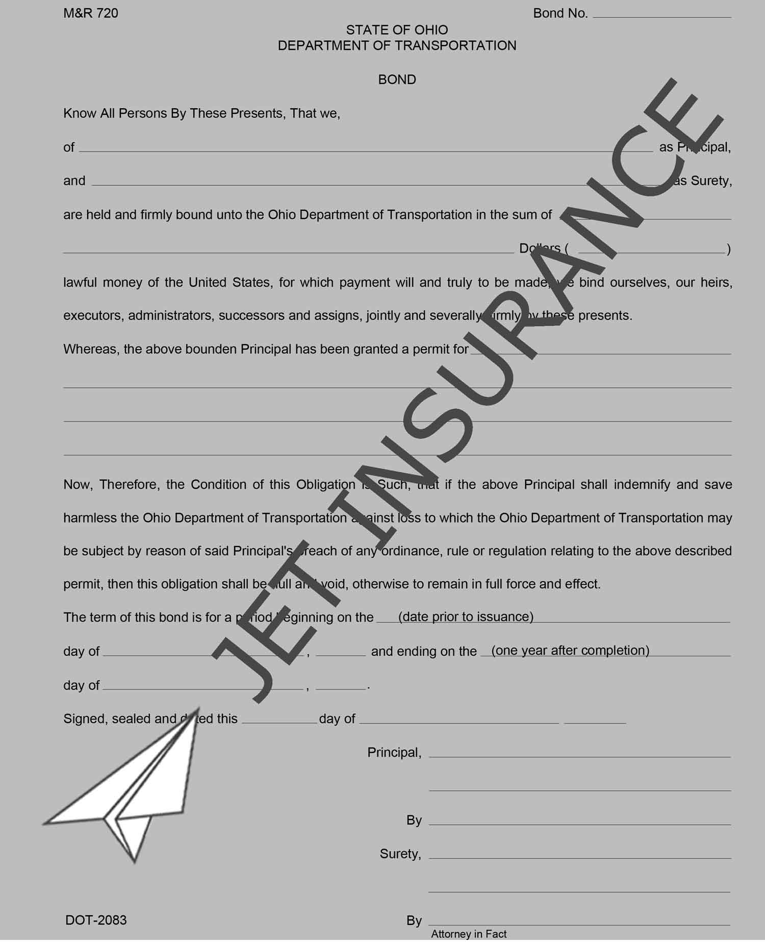 Ohio Highway Right of Way Permit and Maintenance Bond Form
