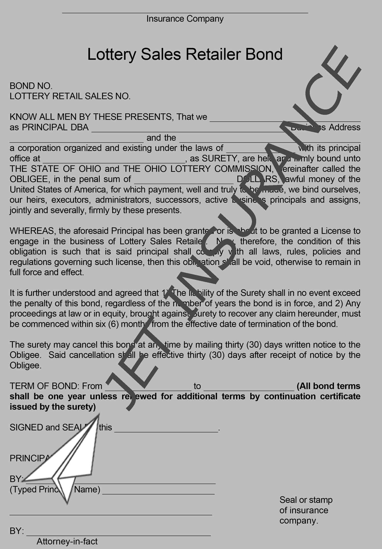 Ohio Lottery Sales Retailer Bond Form