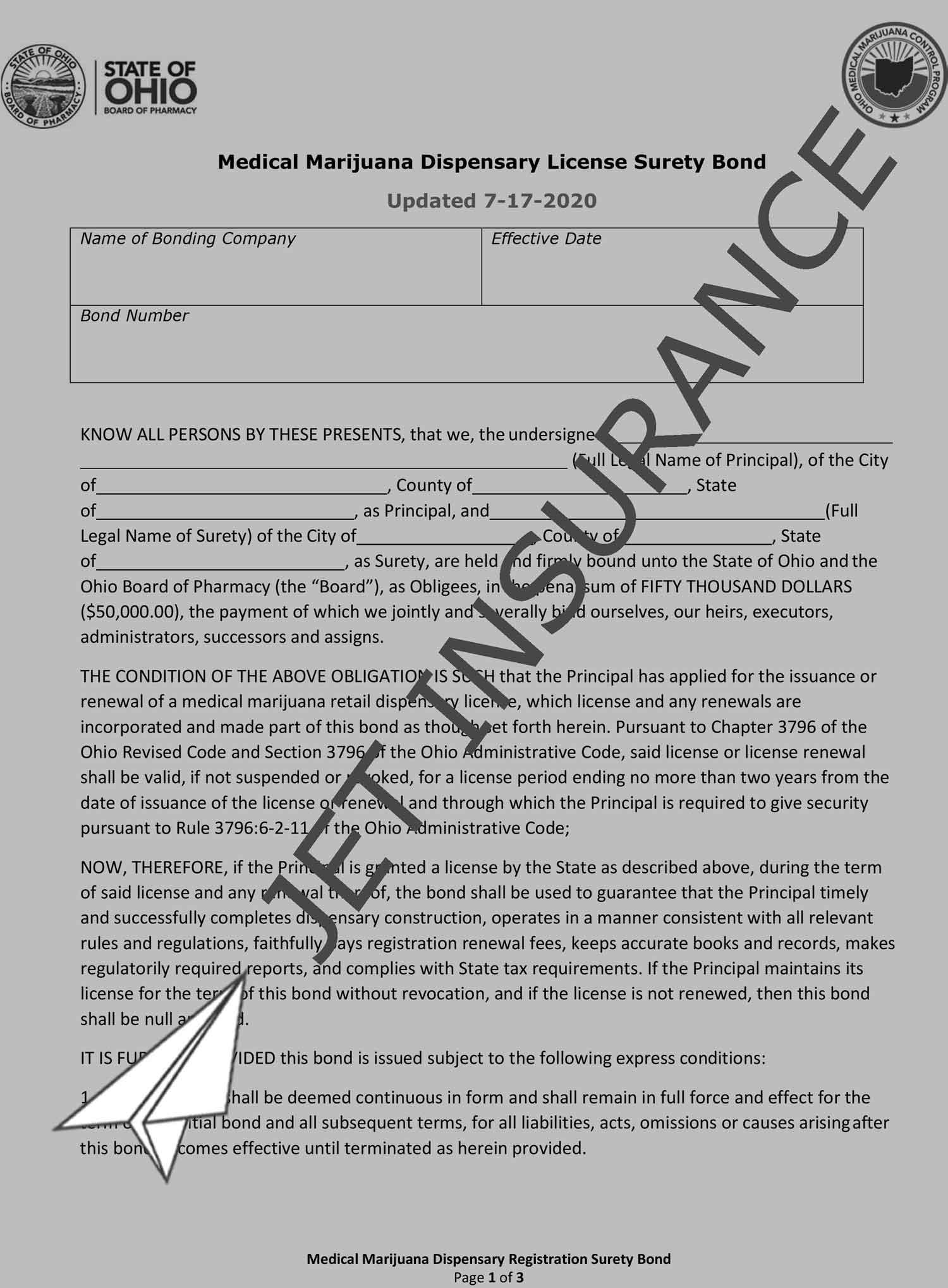 Ohio Medical Marijuana Dispensary Bond Form