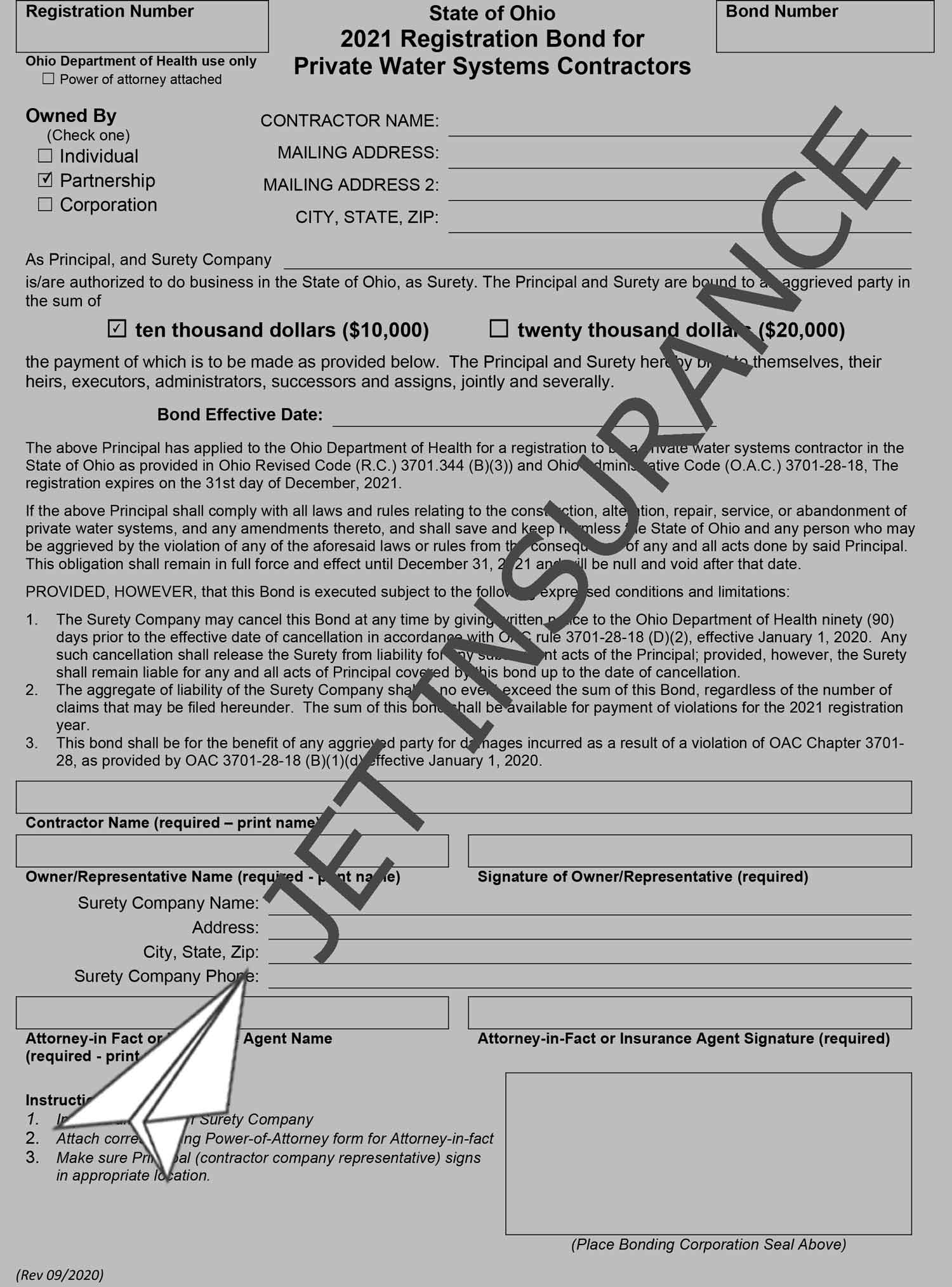 Ohio Private Water System Contractor Bond Form