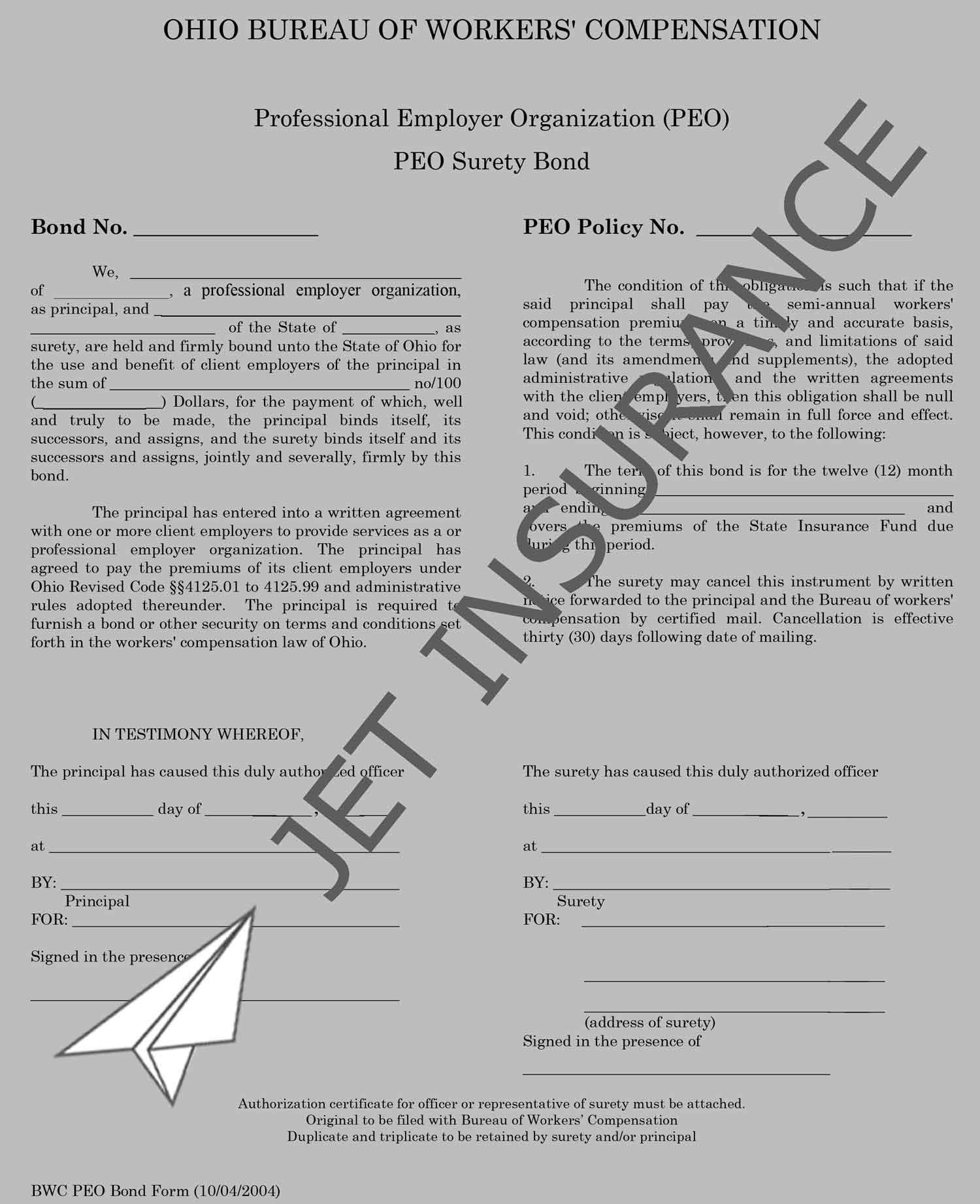 Ohio Professional Employer Organization Bond Form