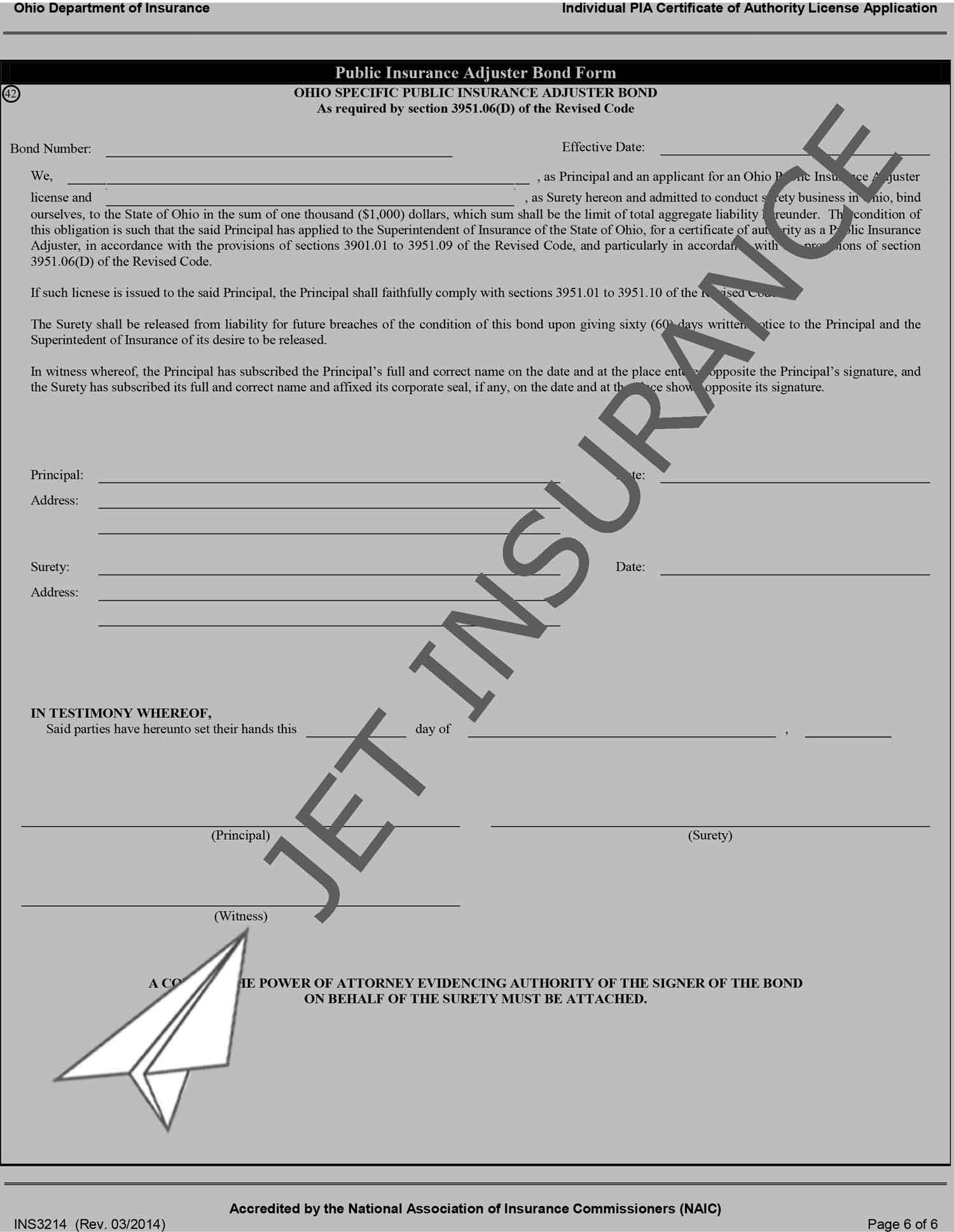 Ohio Public Adjuster Bond Form