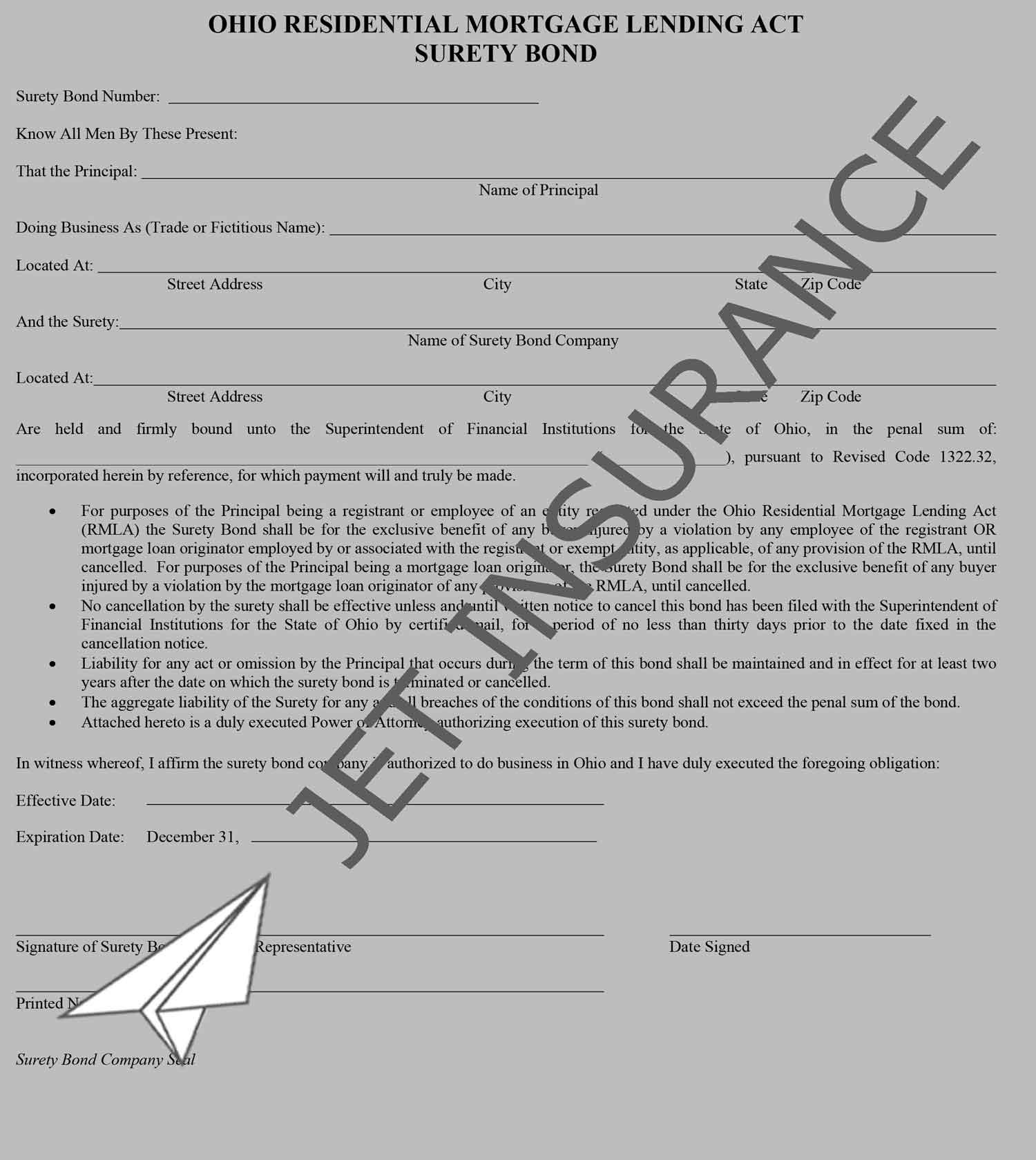 Ohio Residential Mortgage Lending Act Bond Form