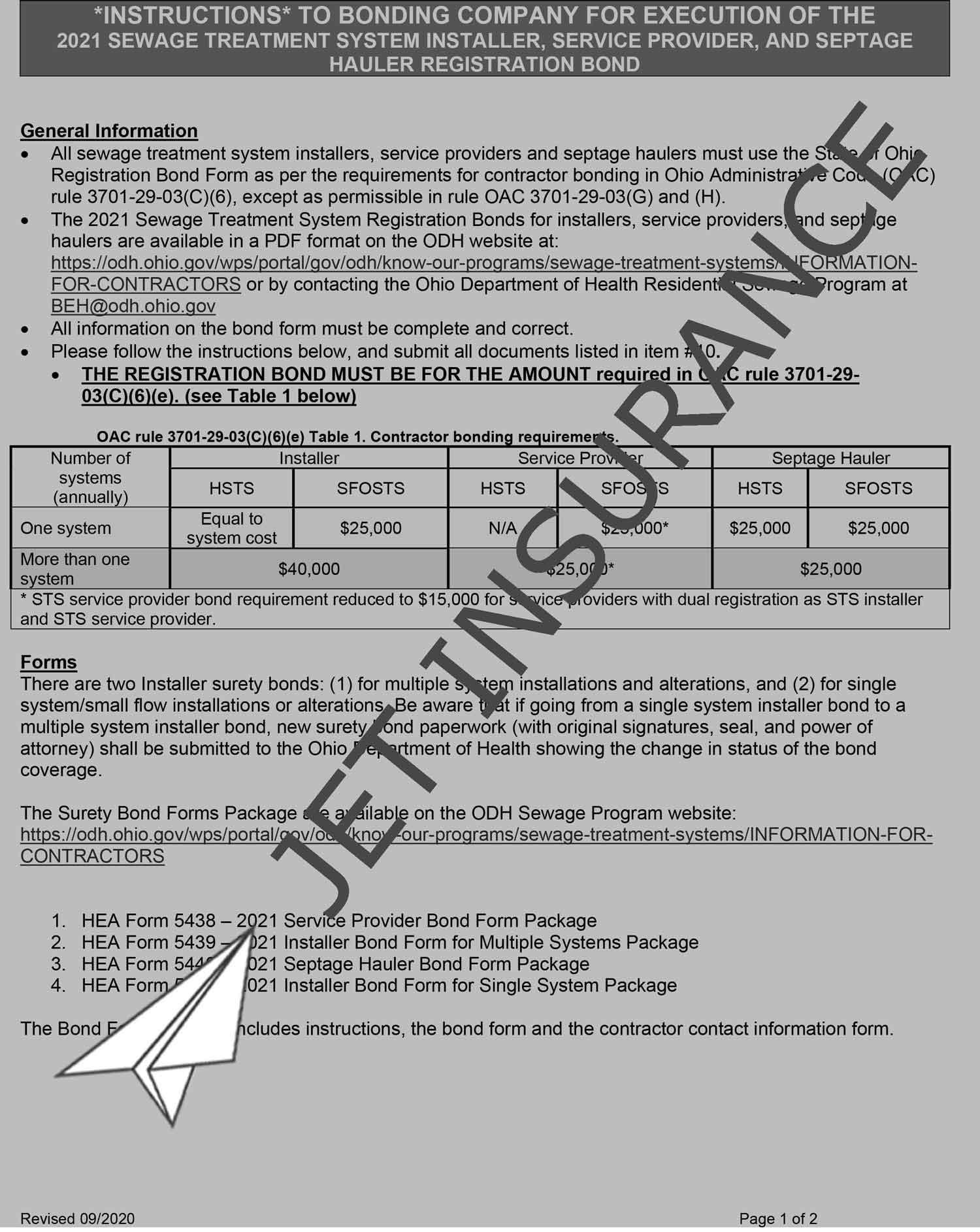 Ohio Sewage Treatment System Contractor Bond Form