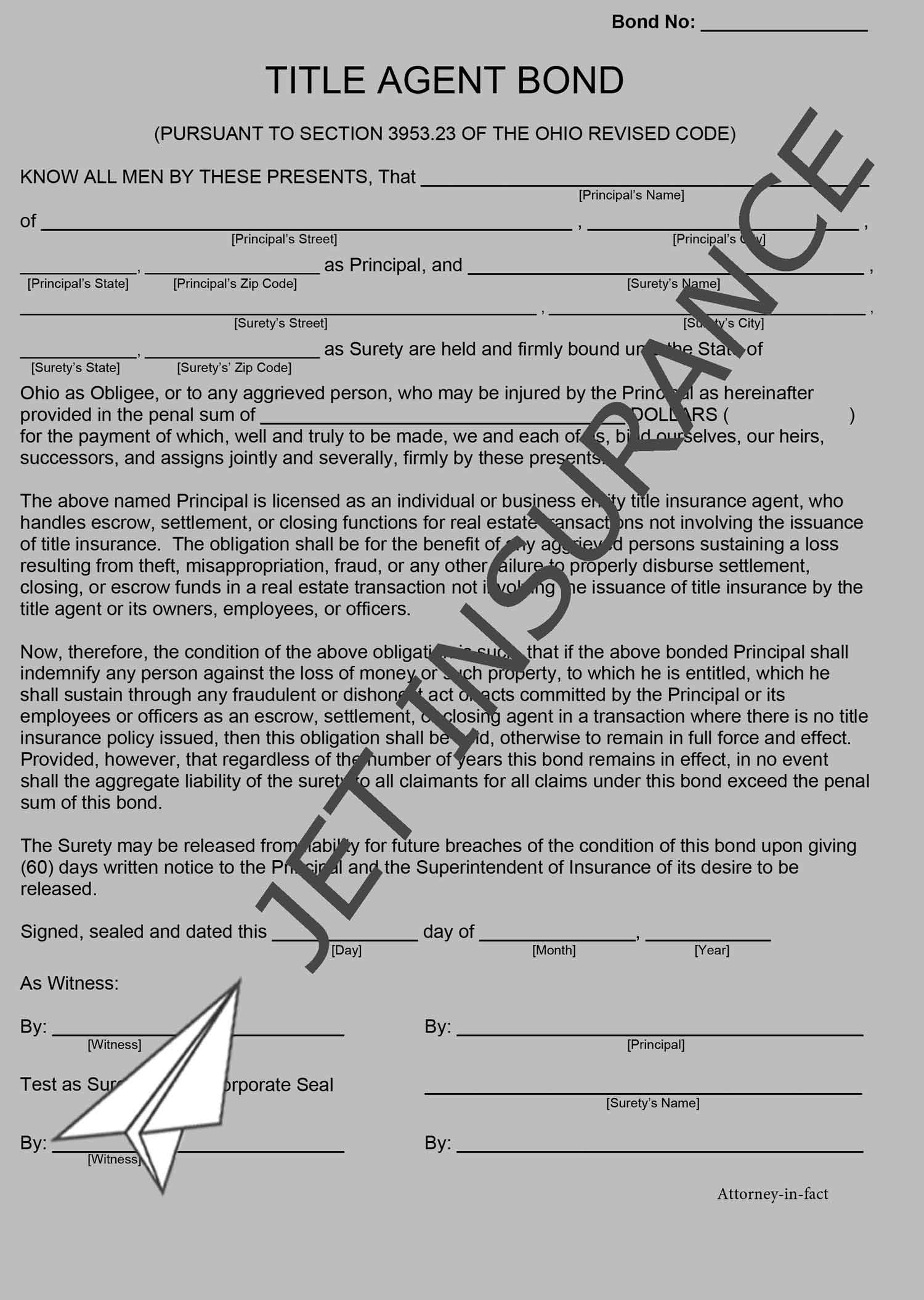 Ohio Title Agent Bond Form