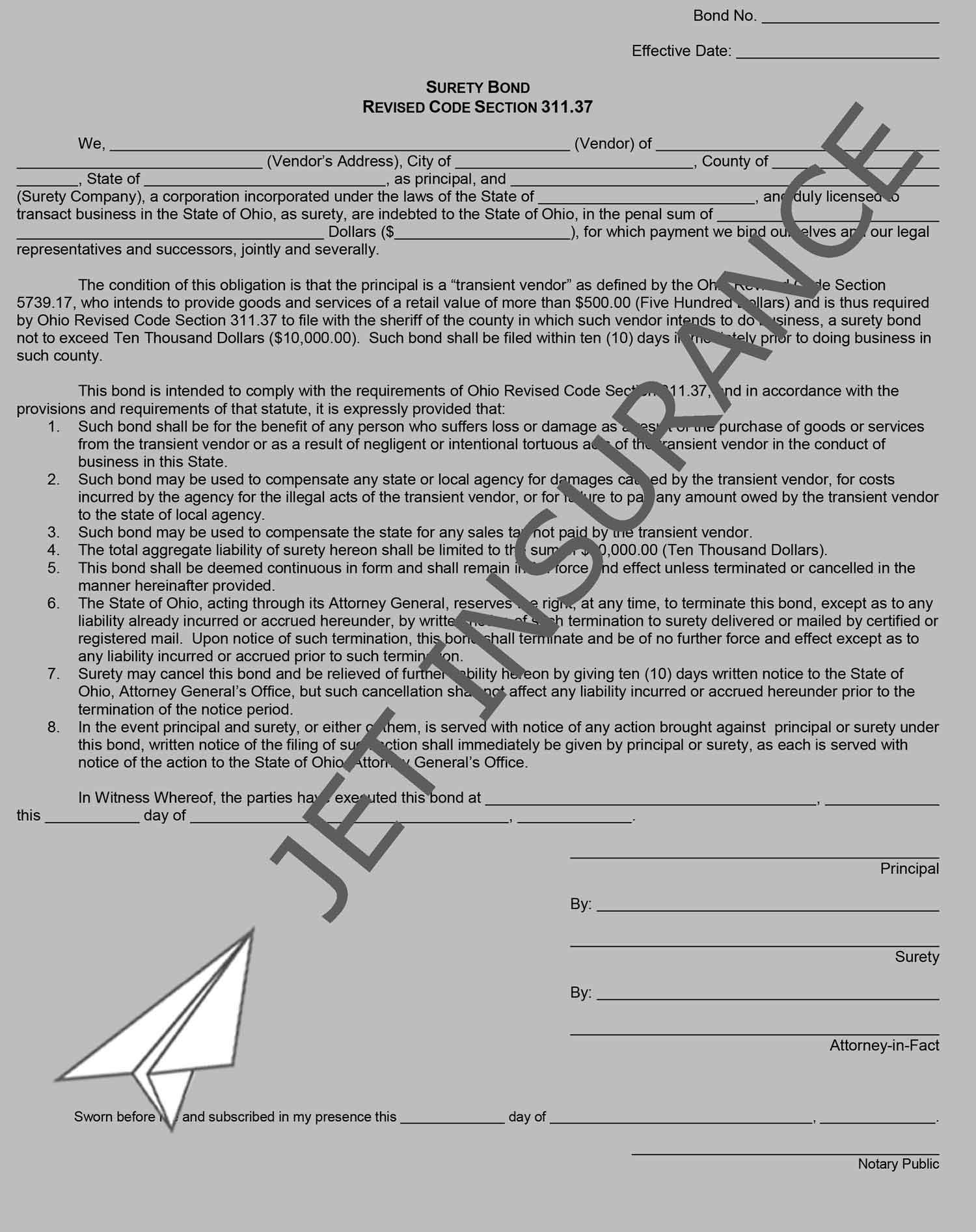 Ohio Transient Vendor Bond Form