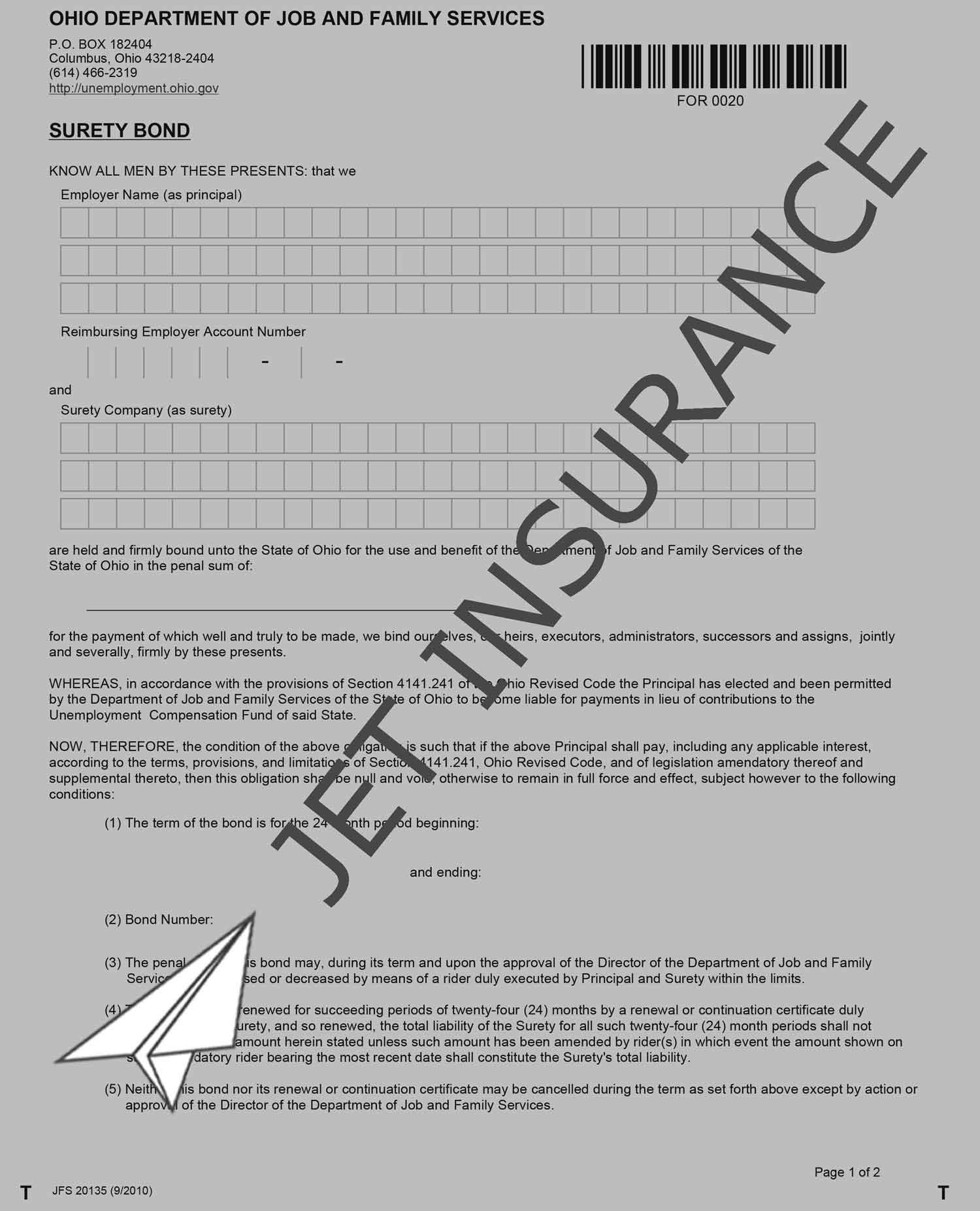 Ohio Unemployment Compensation Fund Bond Form