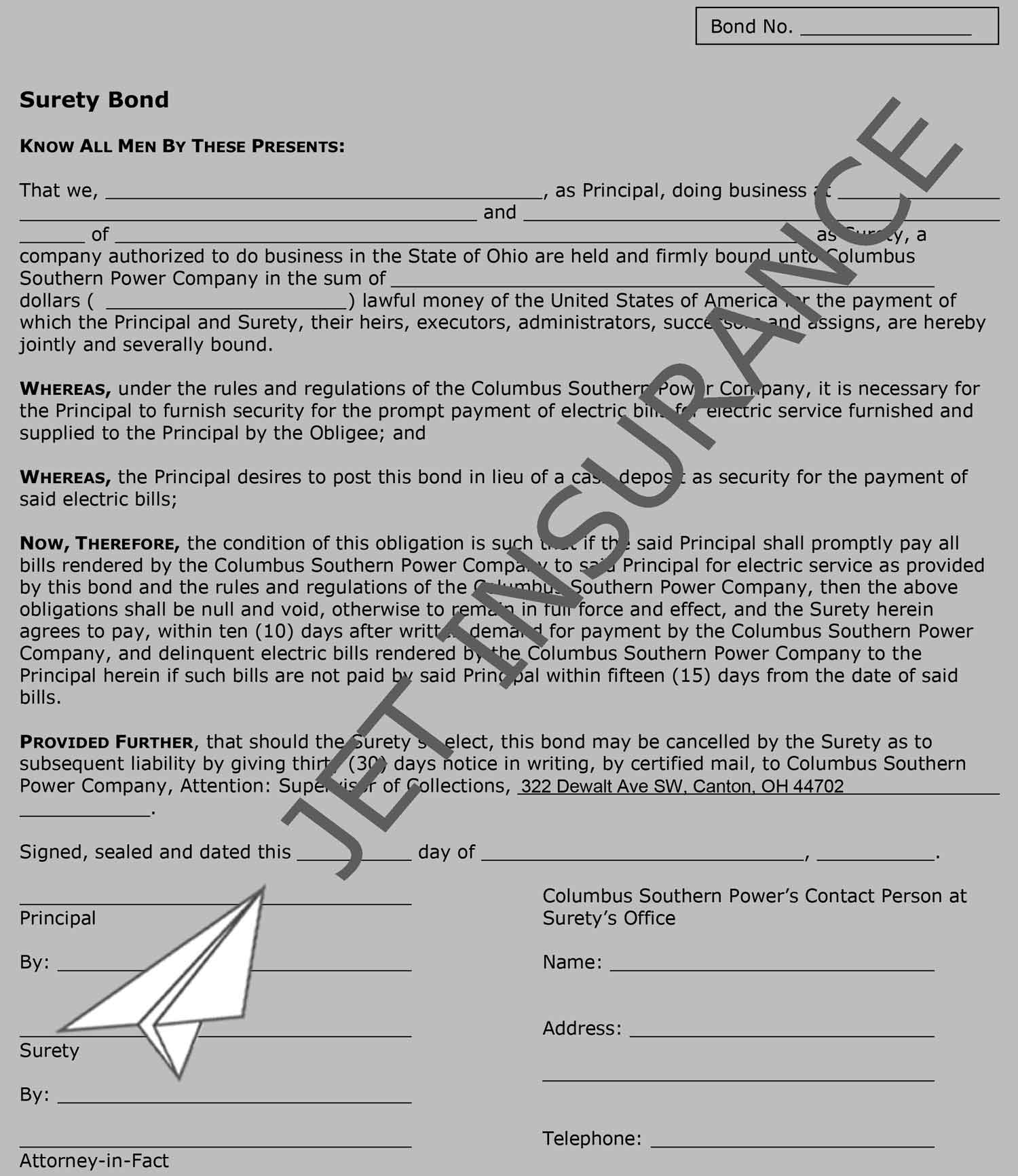 Ohio Utility Deposit Bond Form