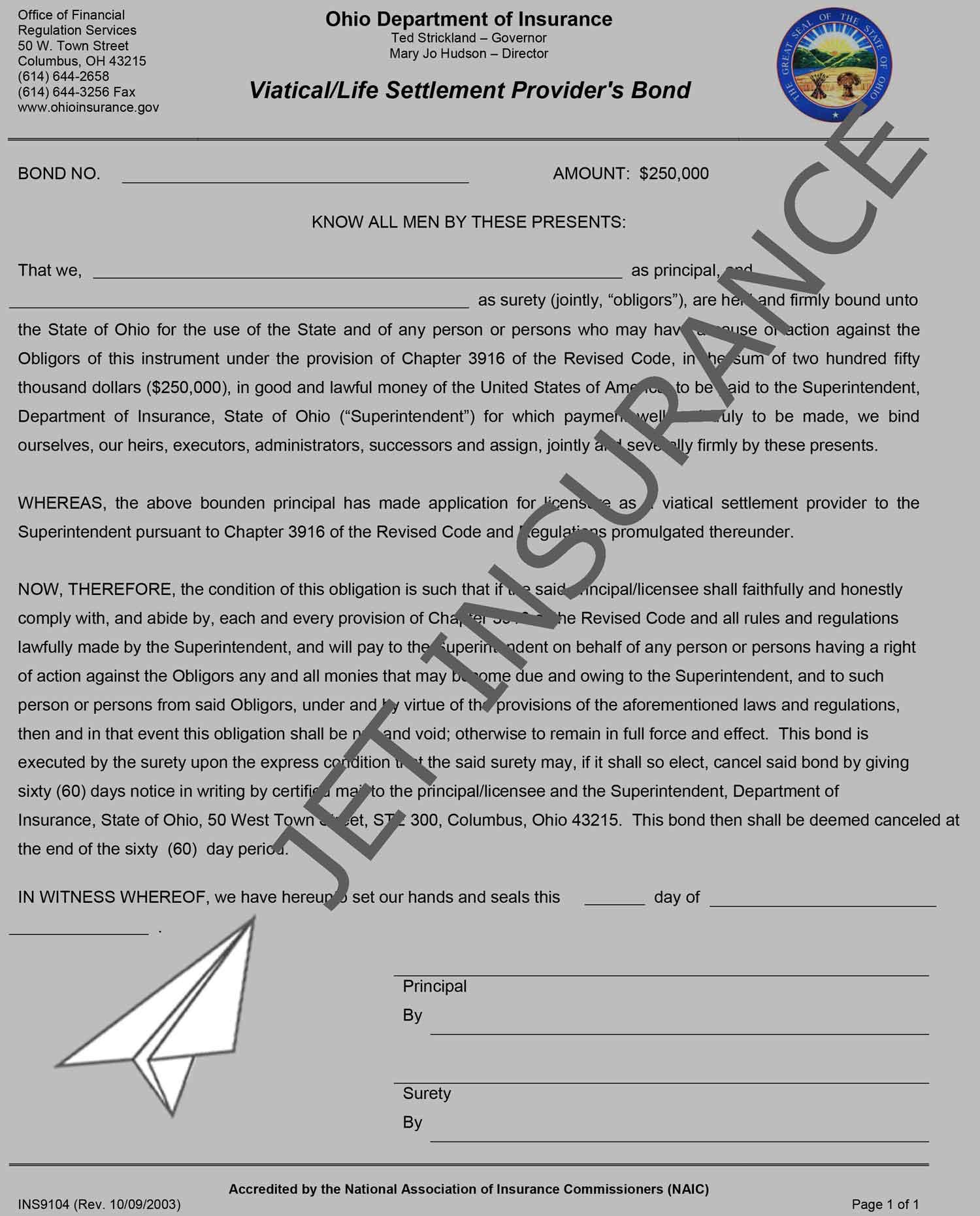 Ohio Viatical/Life Settlement Provider Bond Form