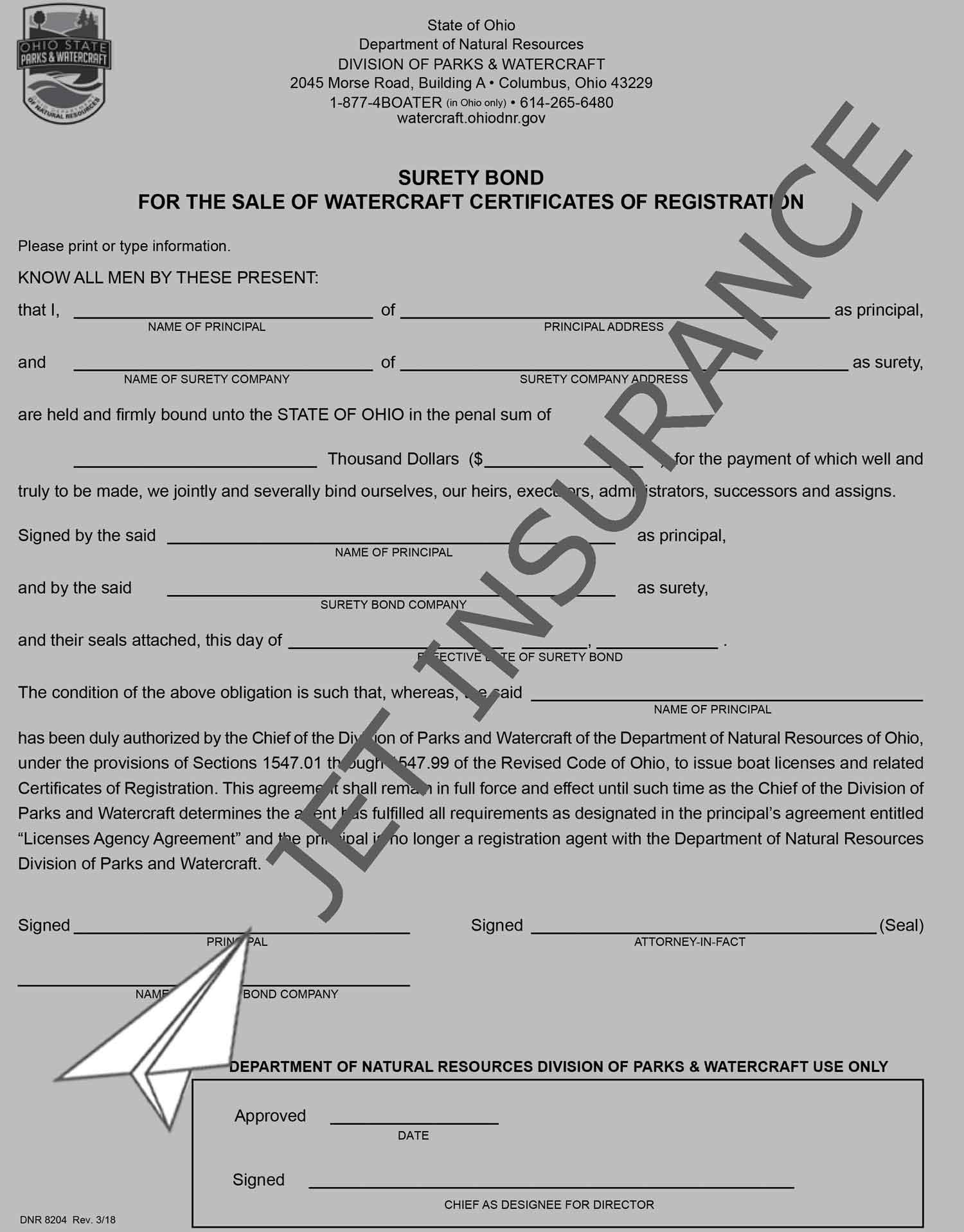 Ohio Boat Registration Agent Bond Form