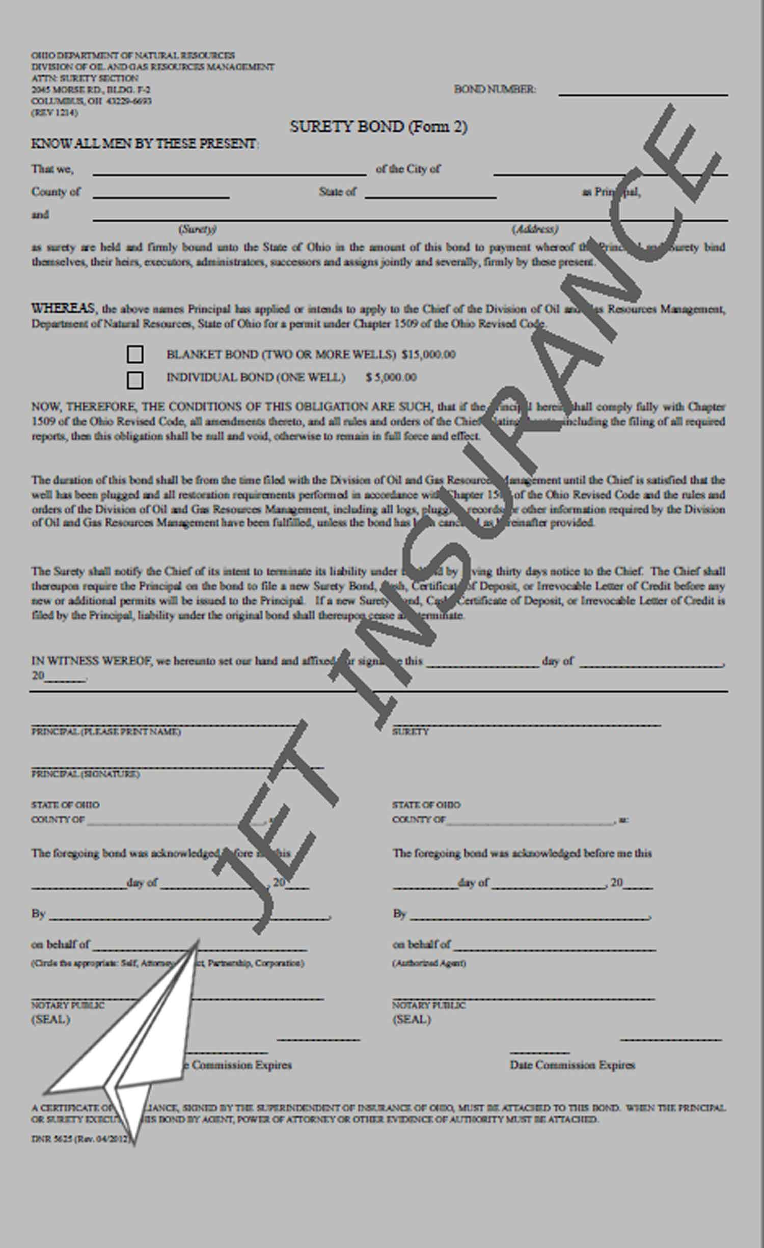 Ohio Oil and Gas Well Driller Bond Form