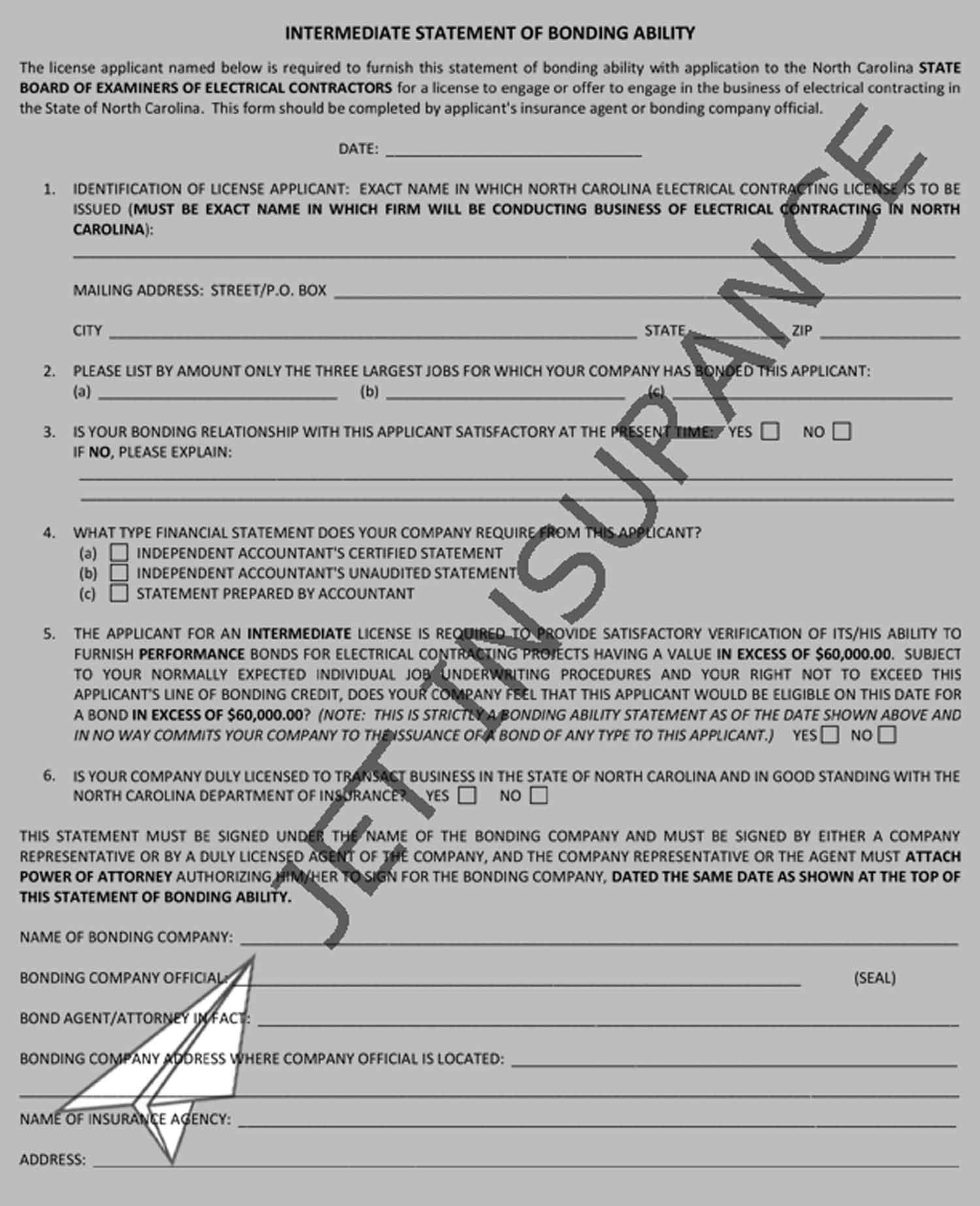 North Carolina Statement of Bonding Ability Bond Form