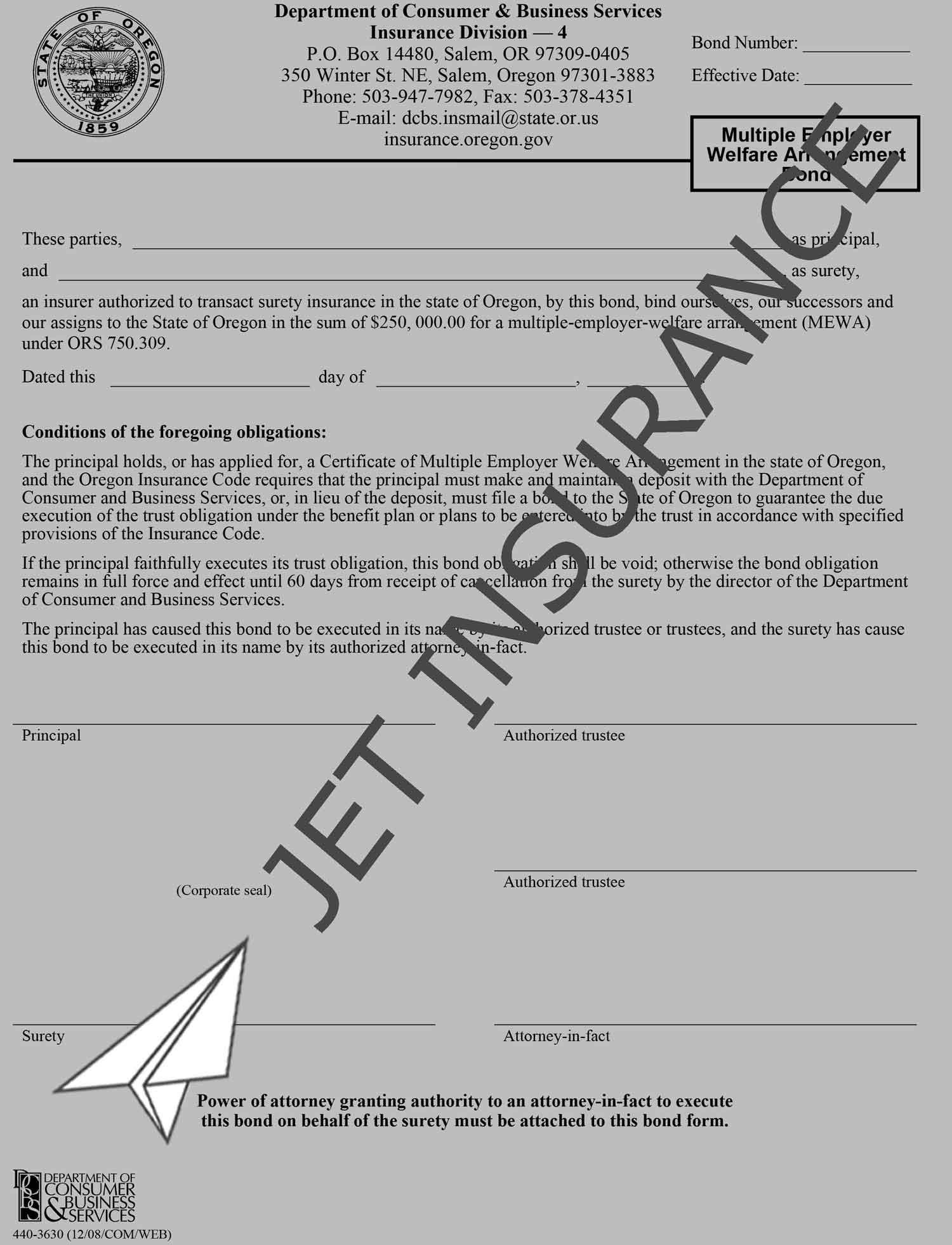 Oregon Multiple Employer Welfare Arrangement Bond Form