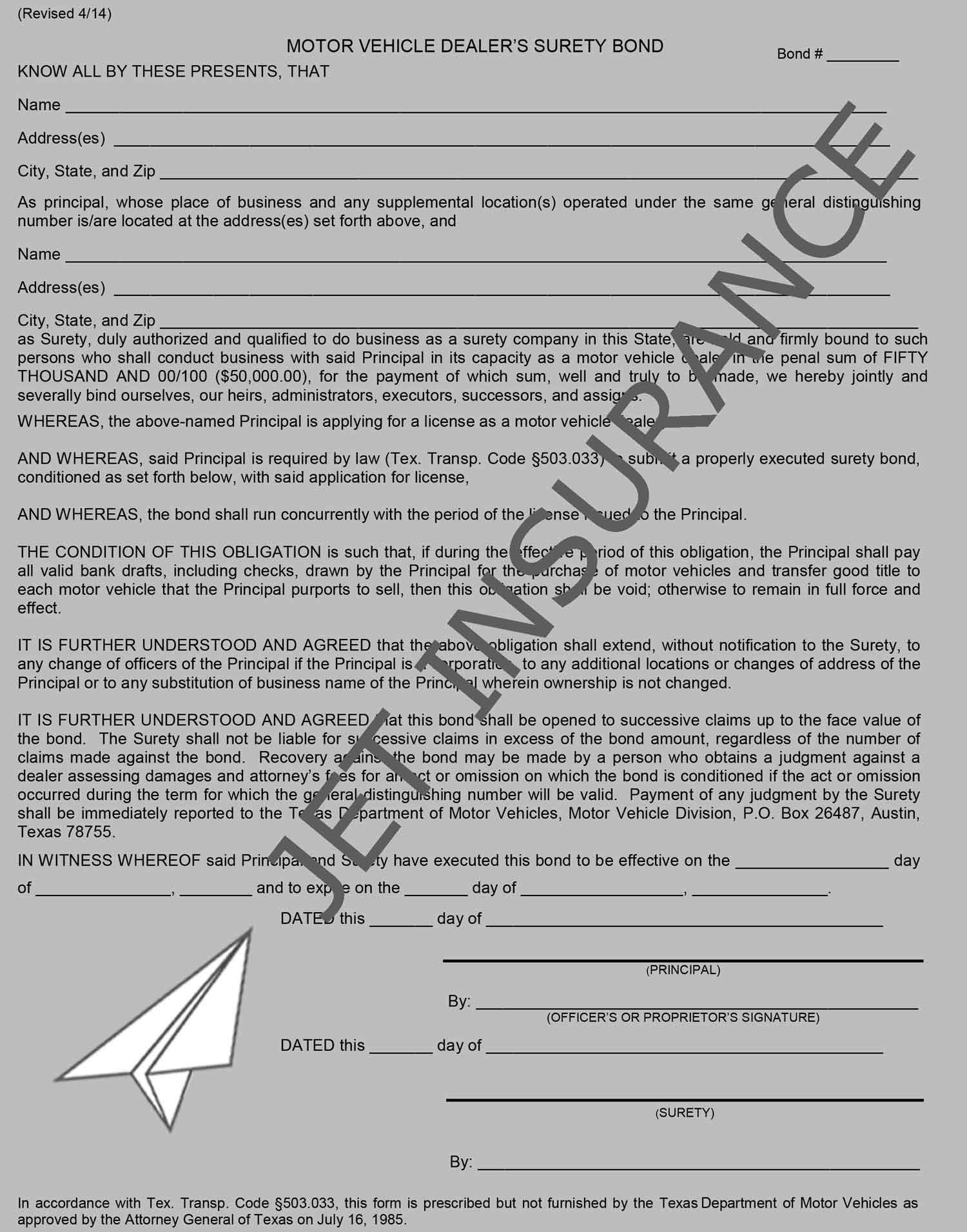Texas Auto Dealer Bond Form