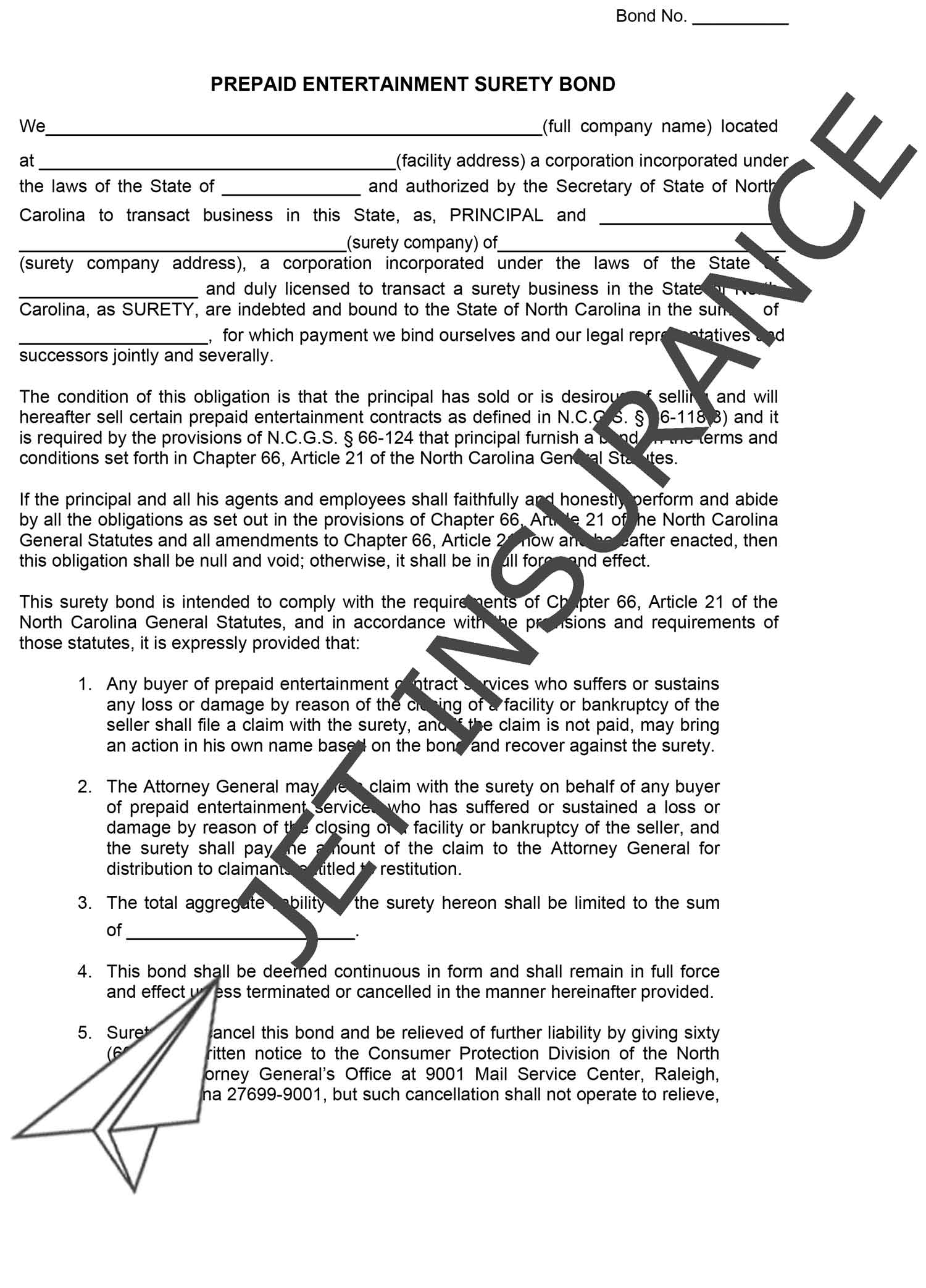 North Carolina Health Club & Prepaid Entertainment Service Bond Form