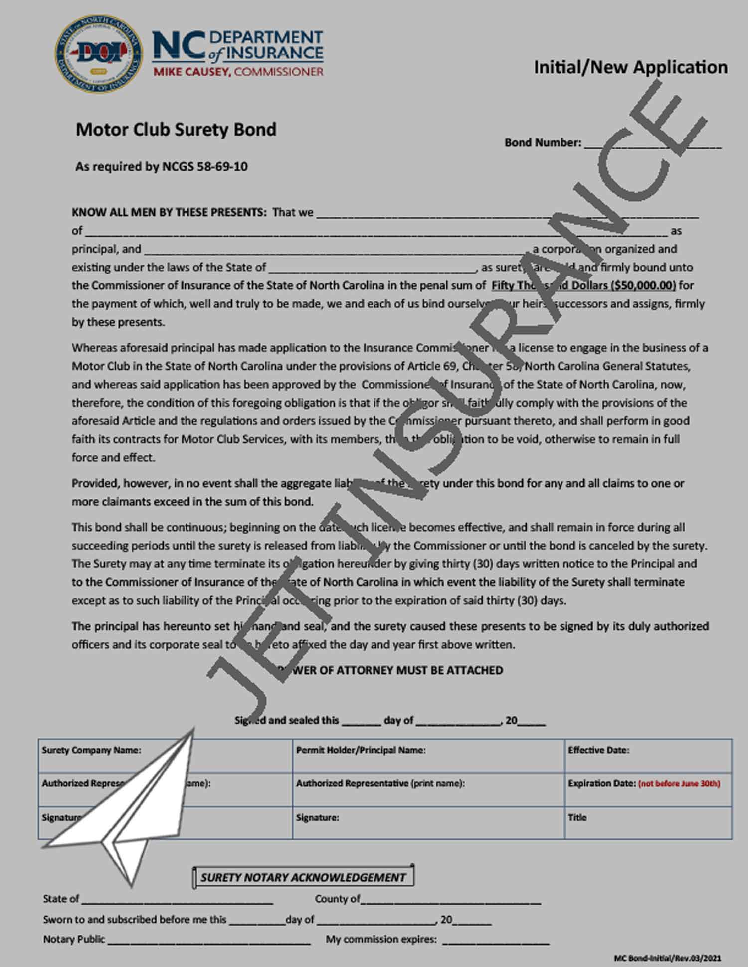 North Carolina Motor Club Bond Form