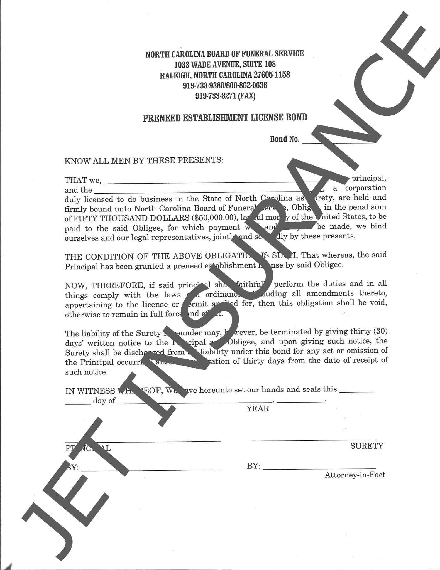 North Carolina Preneed Funeral Bond Form