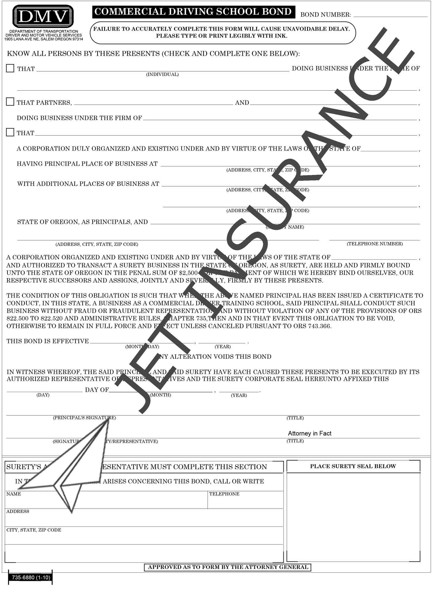 Oregon Commercial Driving School Bond Form