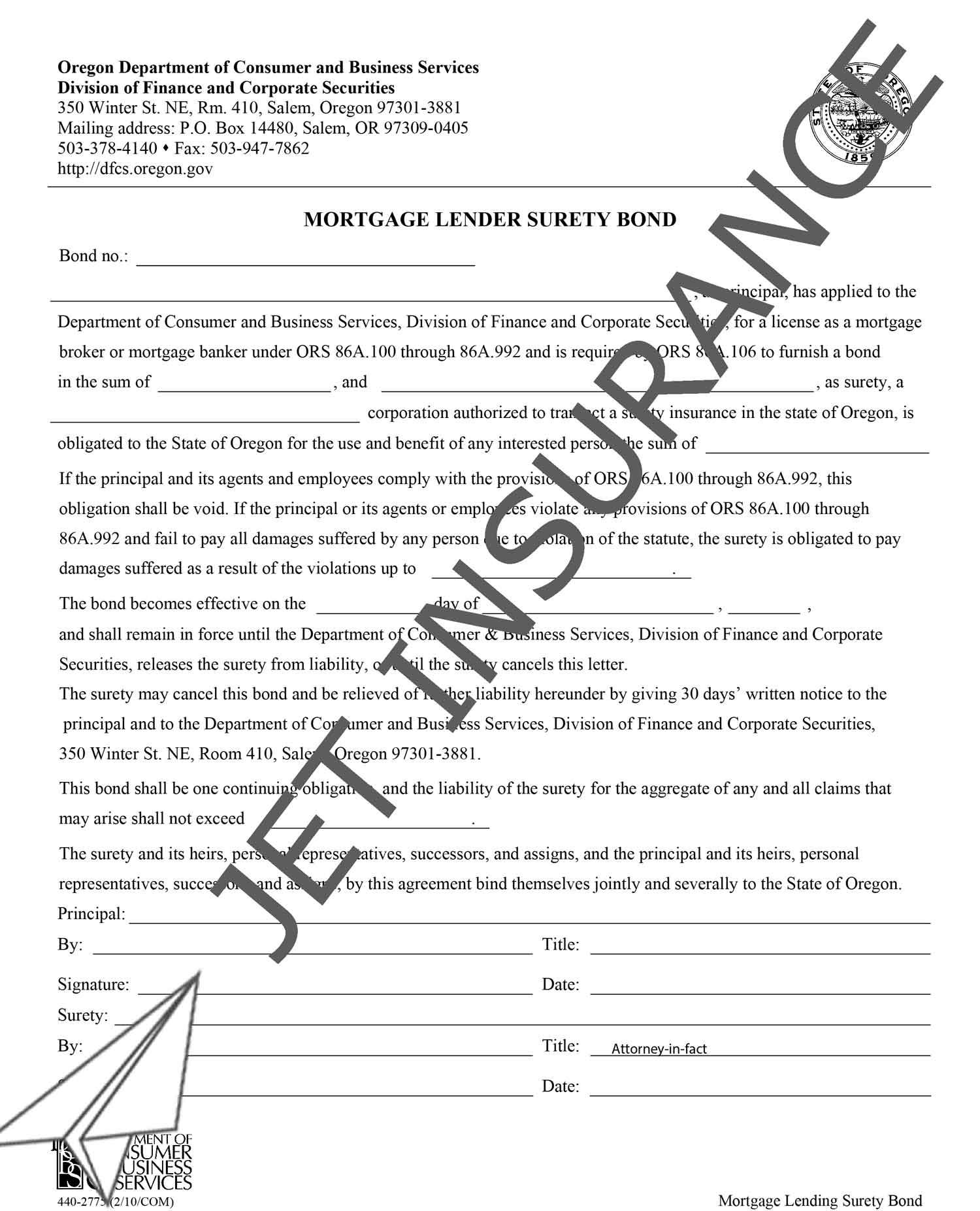 Oregon Mortgage Lender Bond Form
