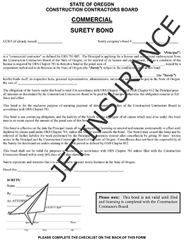 Oregon Commercial Contractor License Bond Form