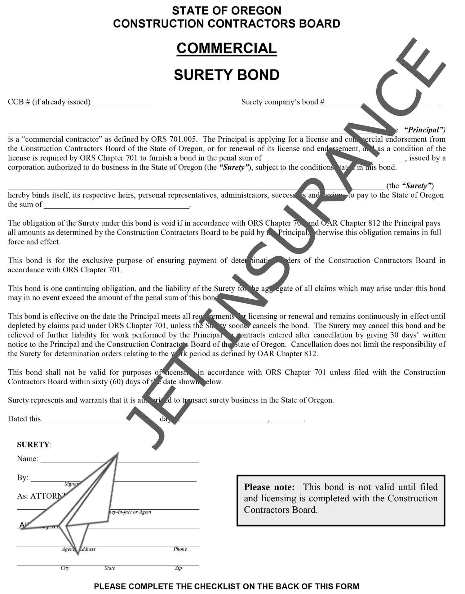 Oregon Commercial Developer License Bond Form