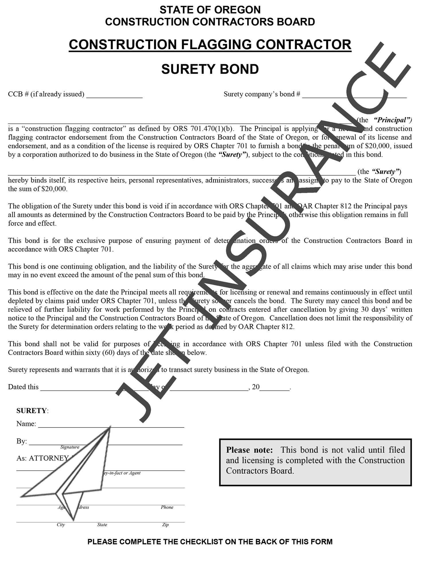 Oregon Construction Flagging Contractor Bond Form