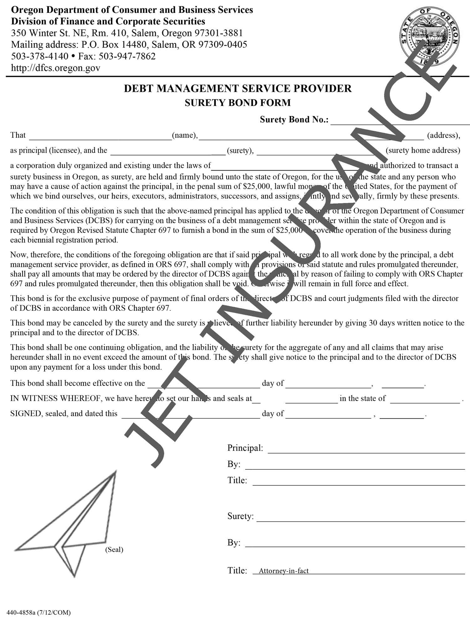Oregon Debt Management Service Provider Bond Form